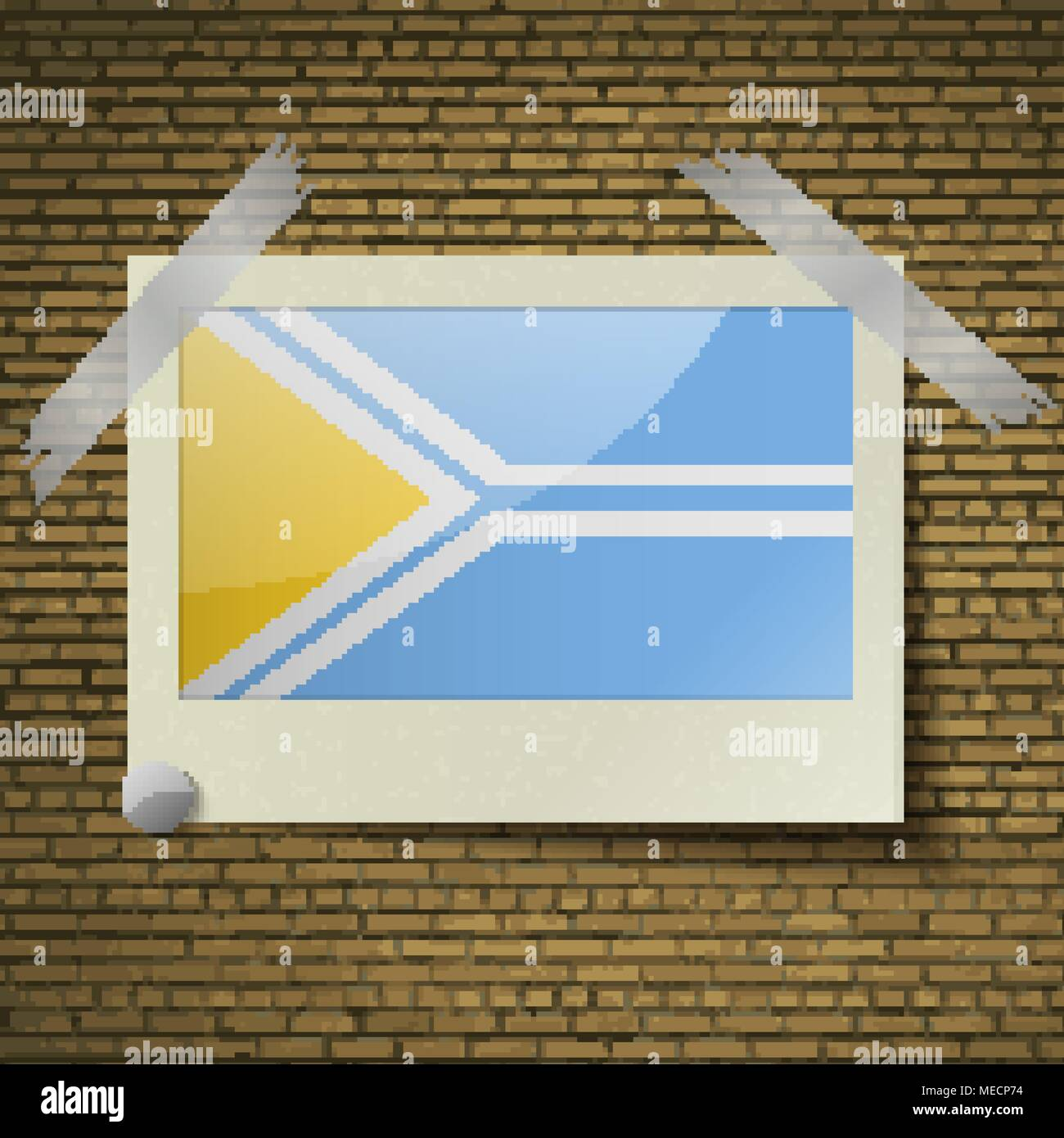 Flags of Tuva at frame on a brick background. Vector illustration - Stock Image