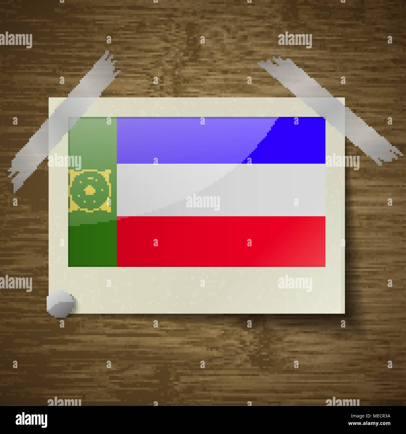 Flags of Khakassia at frame on wooden texture. Vector illustration - Stock Image