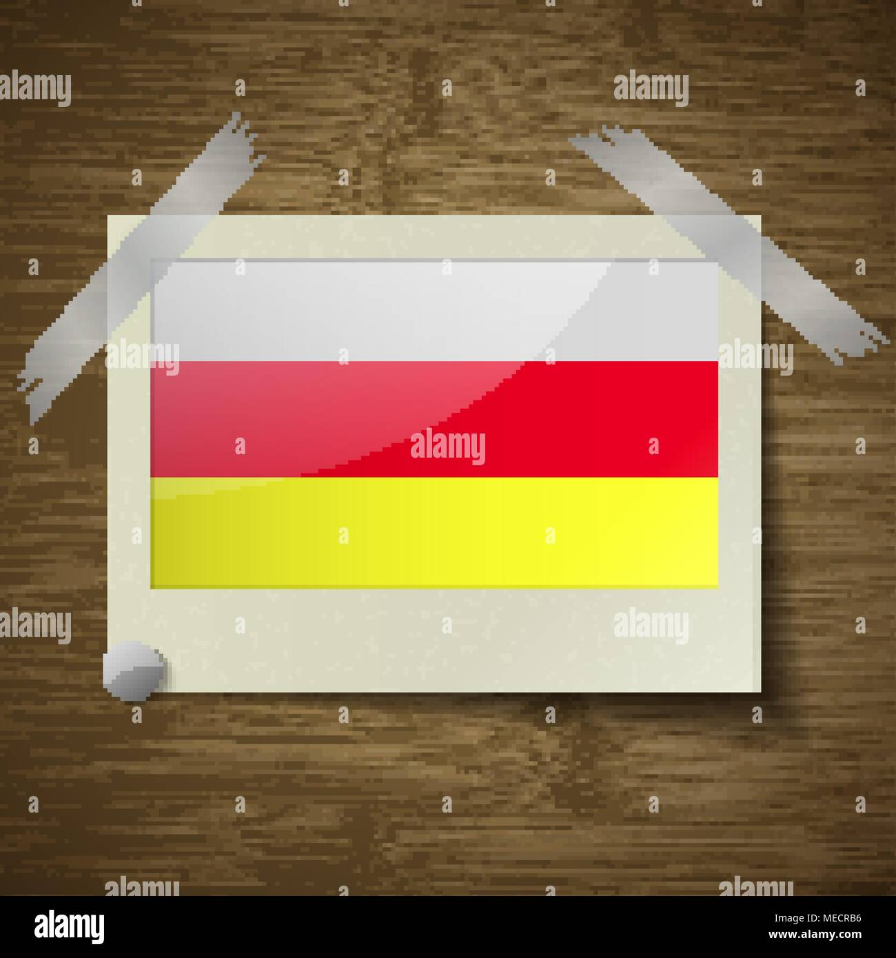Flags of North Ossetia at frame on wooden texture. Vector illustration - Stock Image