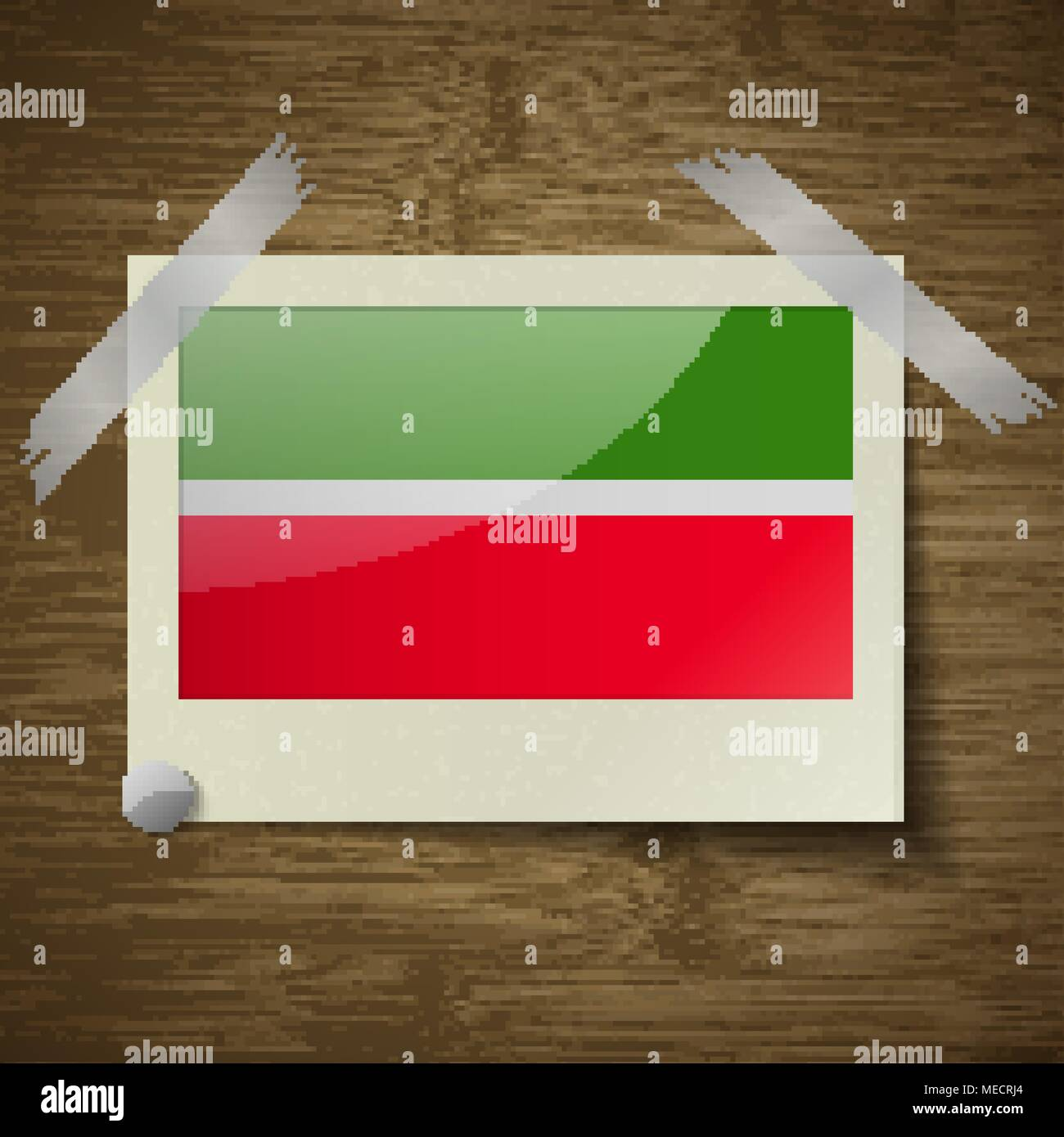 Flags of Tatarstan at frame on wooden texture. Vector illustration - Stock Image