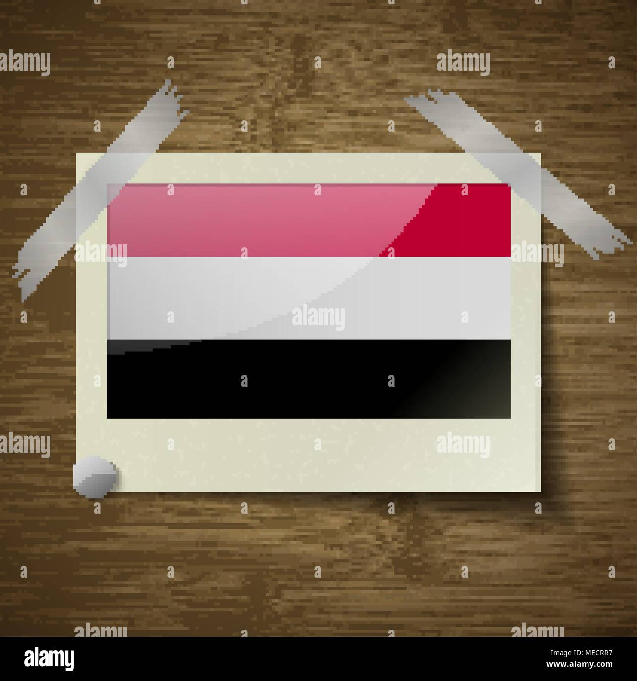 Flags of Yemen at frame on wooden texture. Vector illustration - Stock Vector