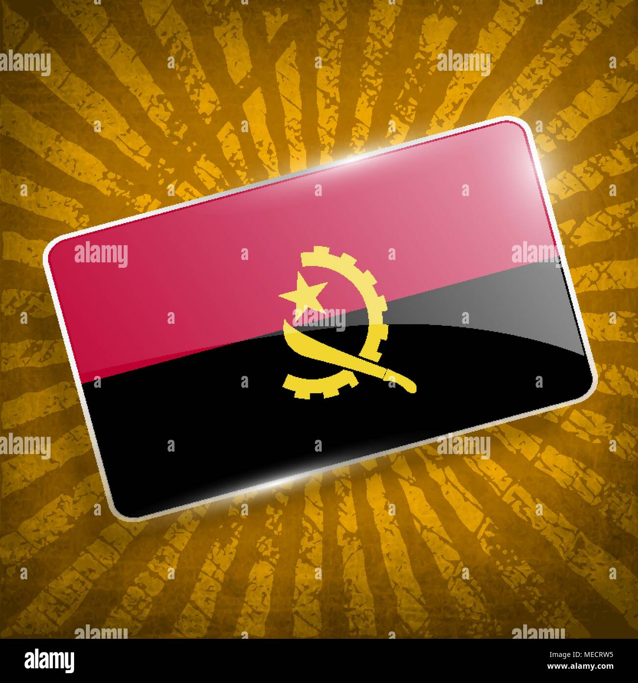 Flag of Angola with old texture. Vector illustration - Stock Vector