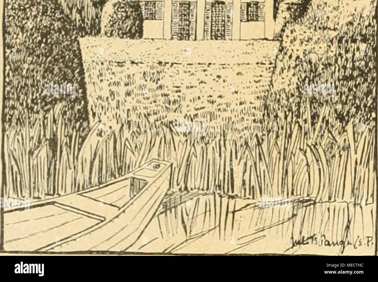 . Die Gartenwelt . Landhausgarten an der Nied in Fange. Erde reichenden Fenstern den Wirtschaftsgebäuden angefügt und in das Farkbild mit hineingezogen. Die Gebäude- gruppierung im Gesamtgrundriß zeugt hier und überall von wohlüberlegter Gestaltungskraft der alten Baumeister, und die Einfügung des ganzen Besitzes ins Landschaftsbild ist meisterlich durchdacht. Man kann die verschiedenen Bau- perioden genau verfolgen, wiewohl Ergänzungen stets takt- volle Rücksicht auf früher bestandene Teile des Ganzen ge- nommen haben. An Türen und Toren besonders erkennt man zarteste Rücksichtnahme auf frühe - Stock Image
