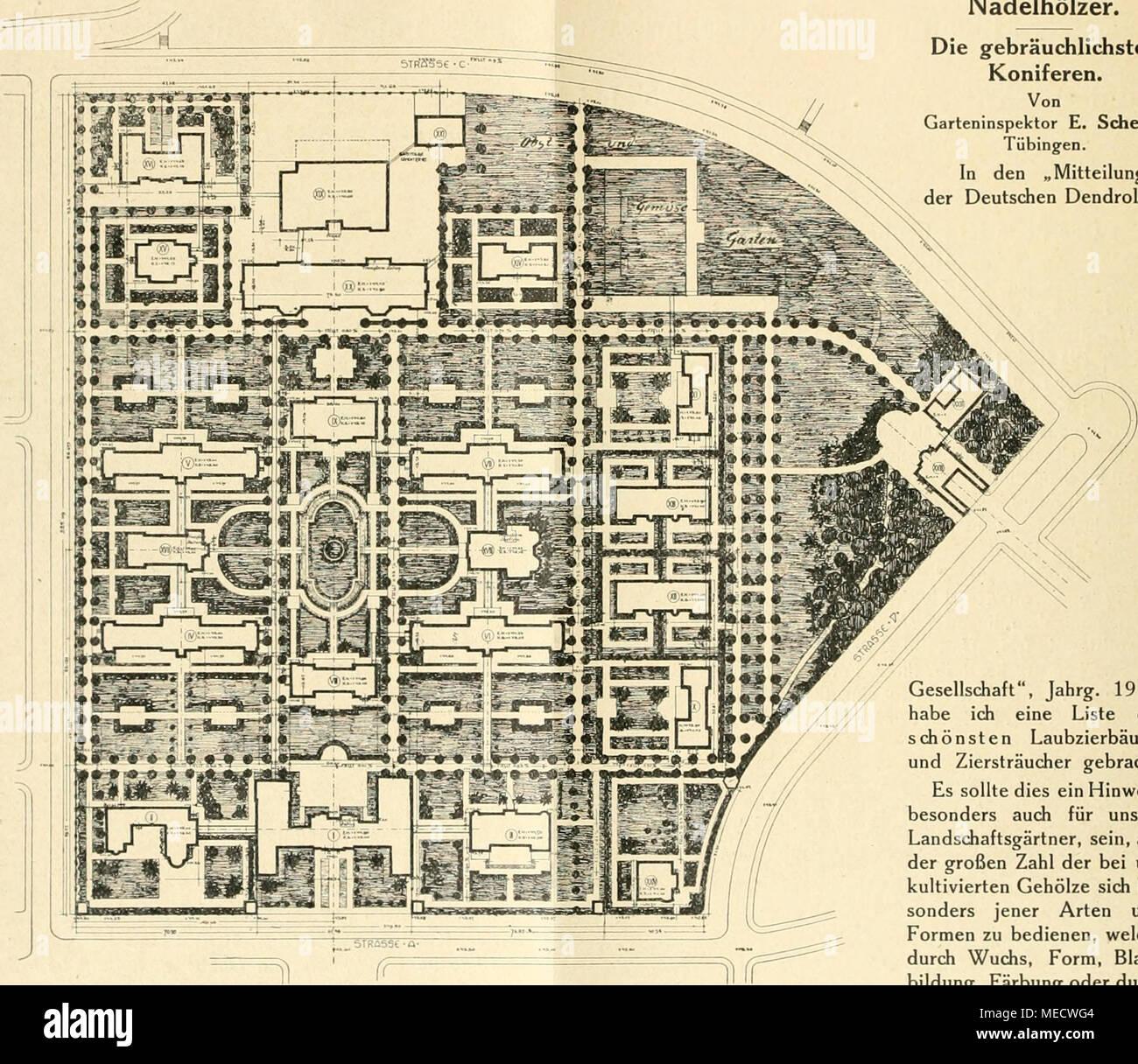 Die Gartenwelt Grundplan Des Städtischen Krankenhauses In Mainz