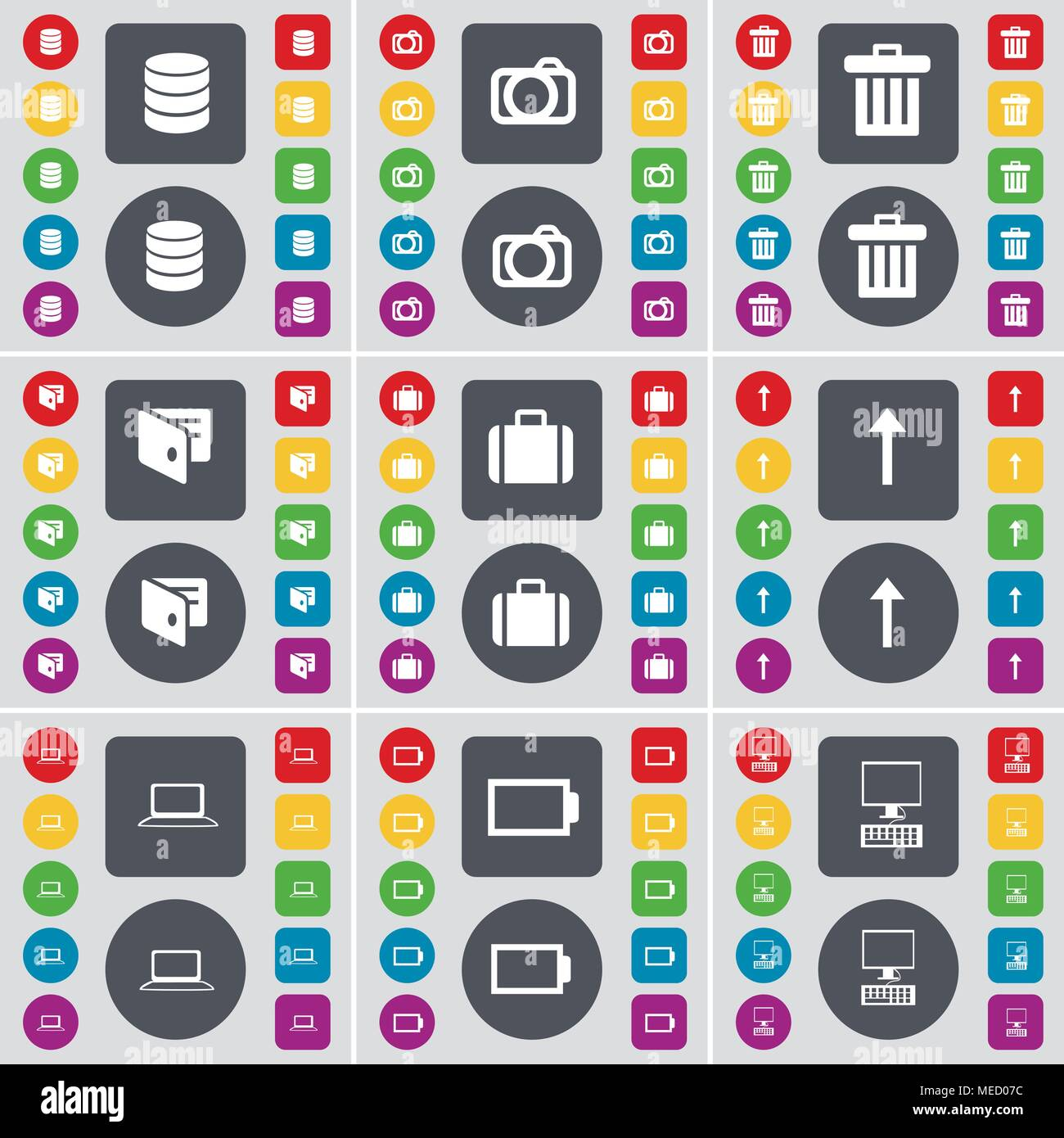 Database, Camera, Trash can, Wallet, Suitcase, Arrow up, Laptop, Battery, PC icon symbol. A large set of flat, colored buttons for your design. Vector - Stock Image