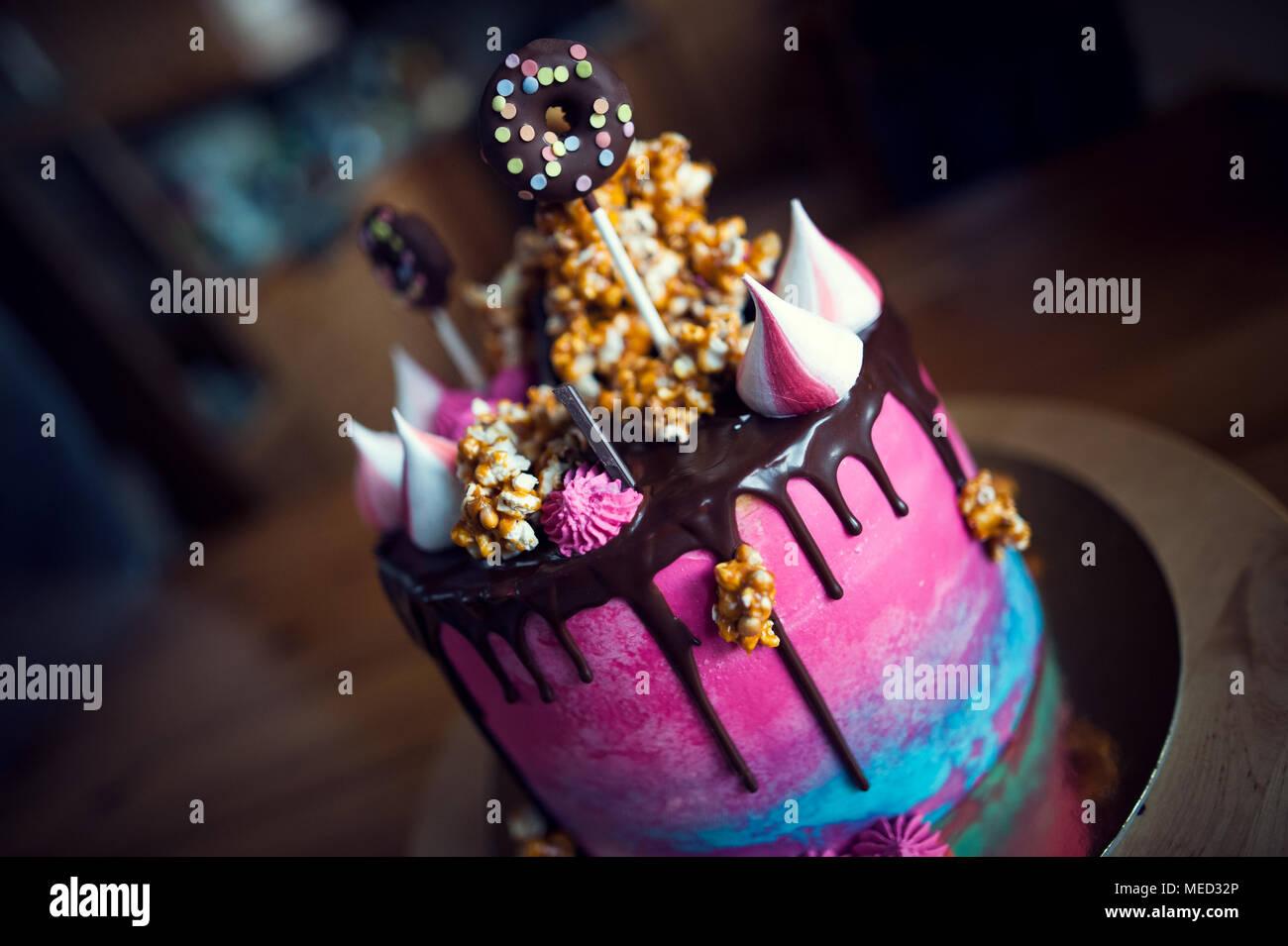 Modern Birthday Cake Full Of Colours And Taste Stock Photo