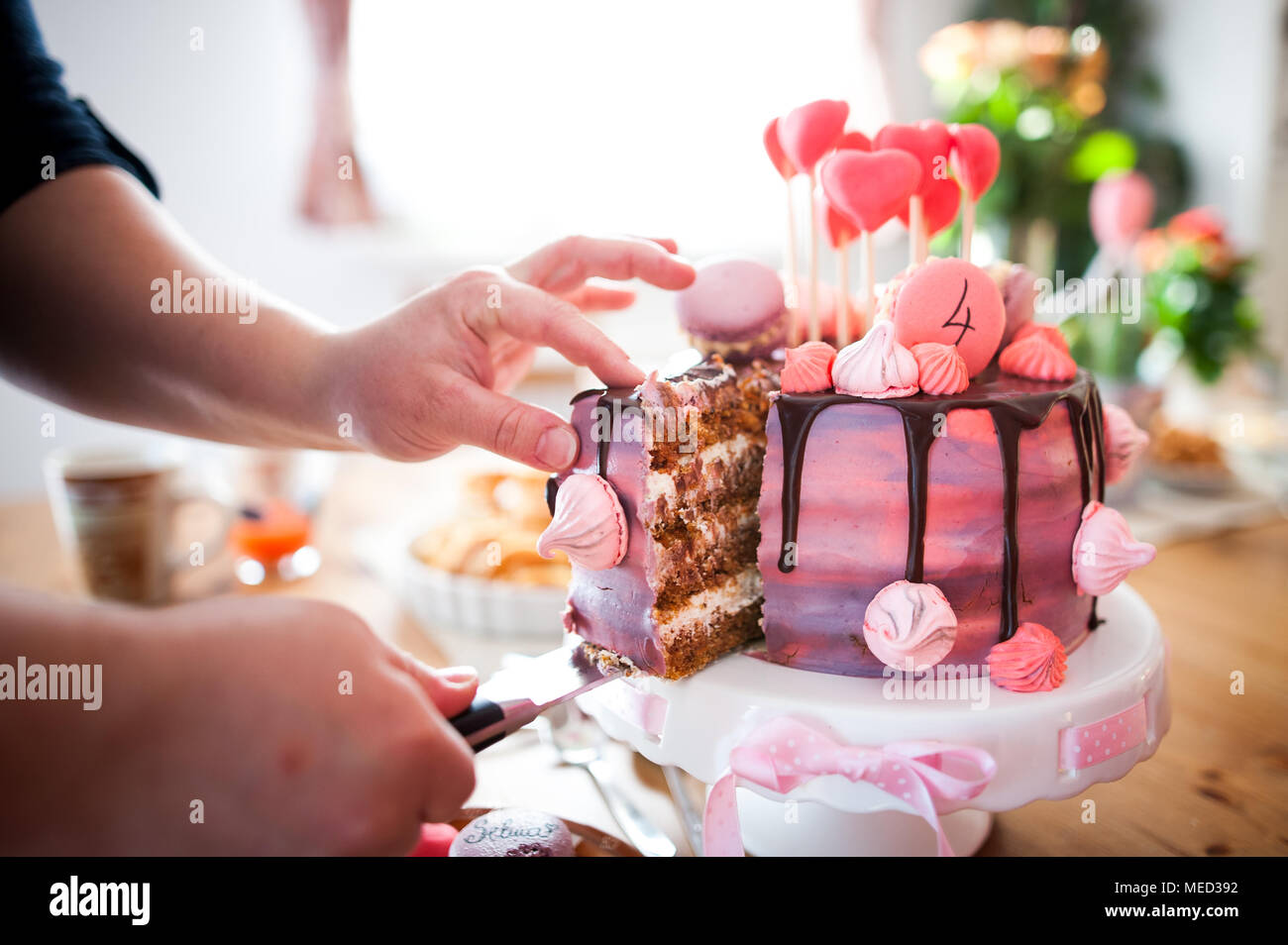 Astonishing Modern Birthday Cake Full Of Colours And Taste Stock Photo Funny Birthday Cards Online Alyptdamsfinfo