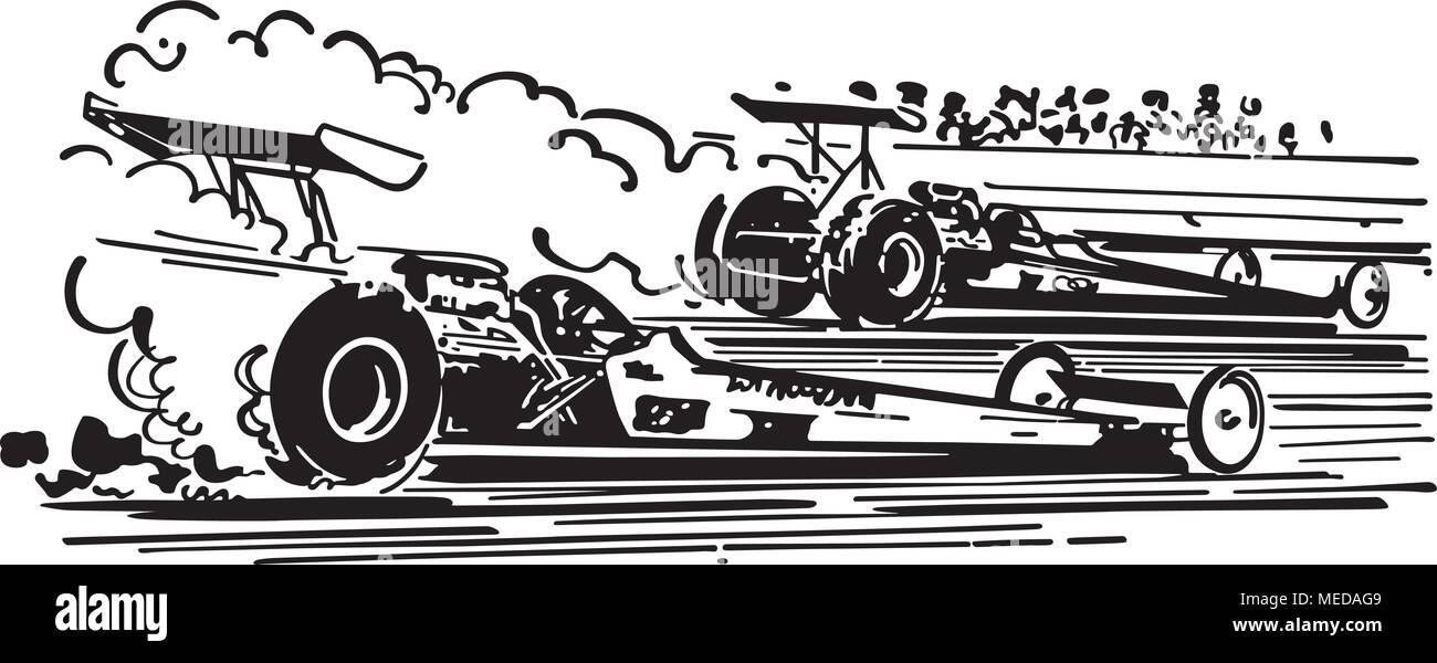 Drag Racing - Retro Clipart Illustration - Stock Vector