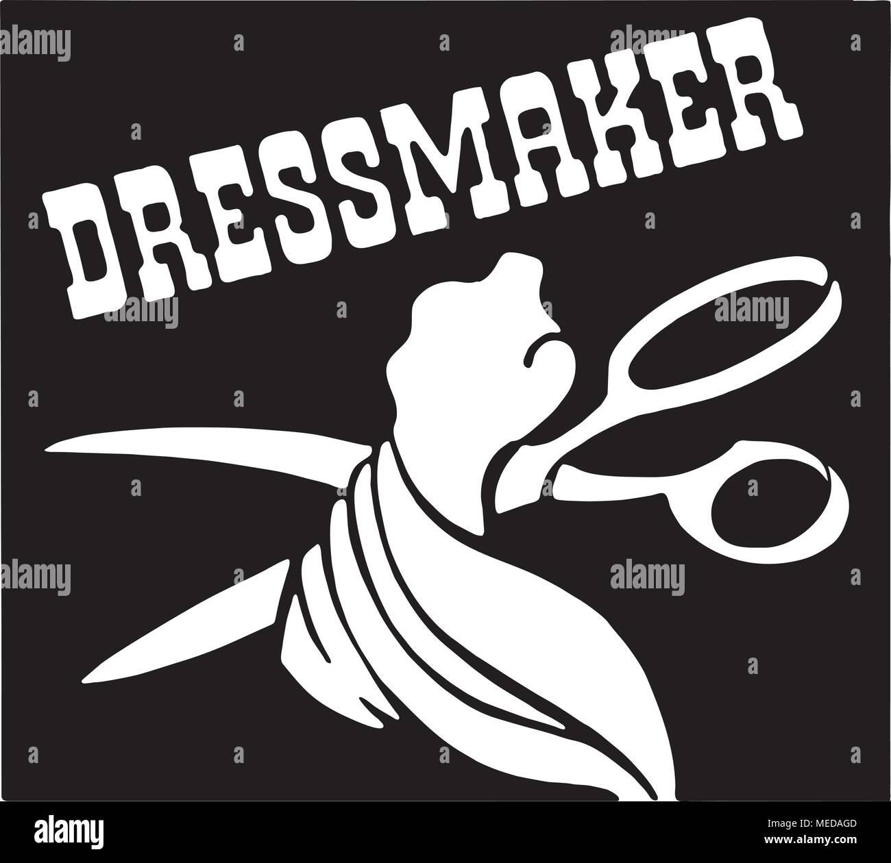 Dressmaker - Retro Ad Art Banner - Stock Vector
