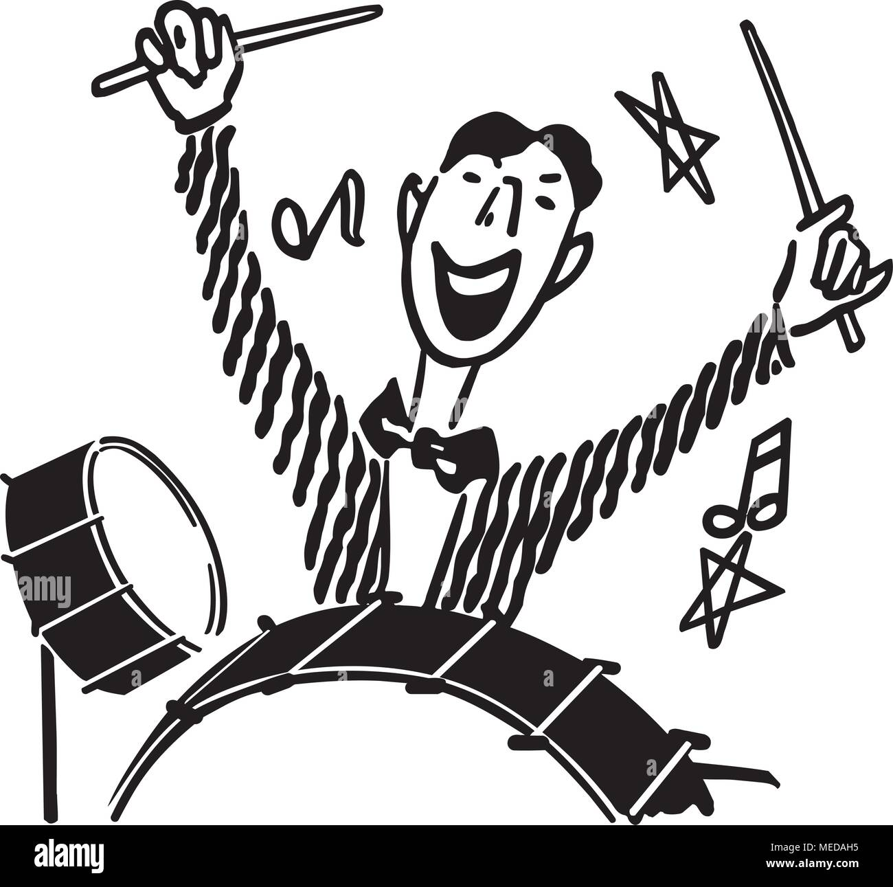 Drummer - Retro Clipart Illustration - Stock Image