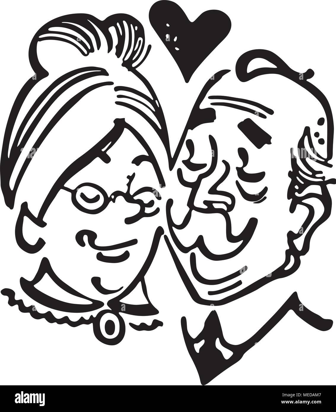 Elderly Couple In Love - Retro Clipart Illustration - Stock Vector