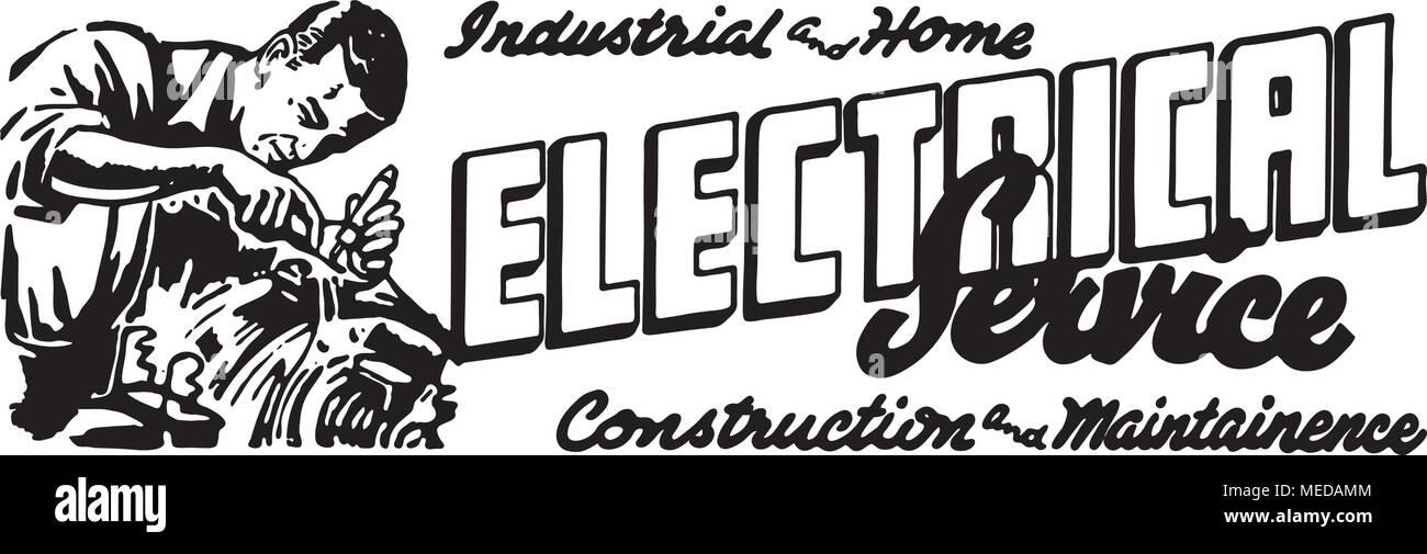 Electrical Service 2 - Retro Ad Art Banner - Stock Vector