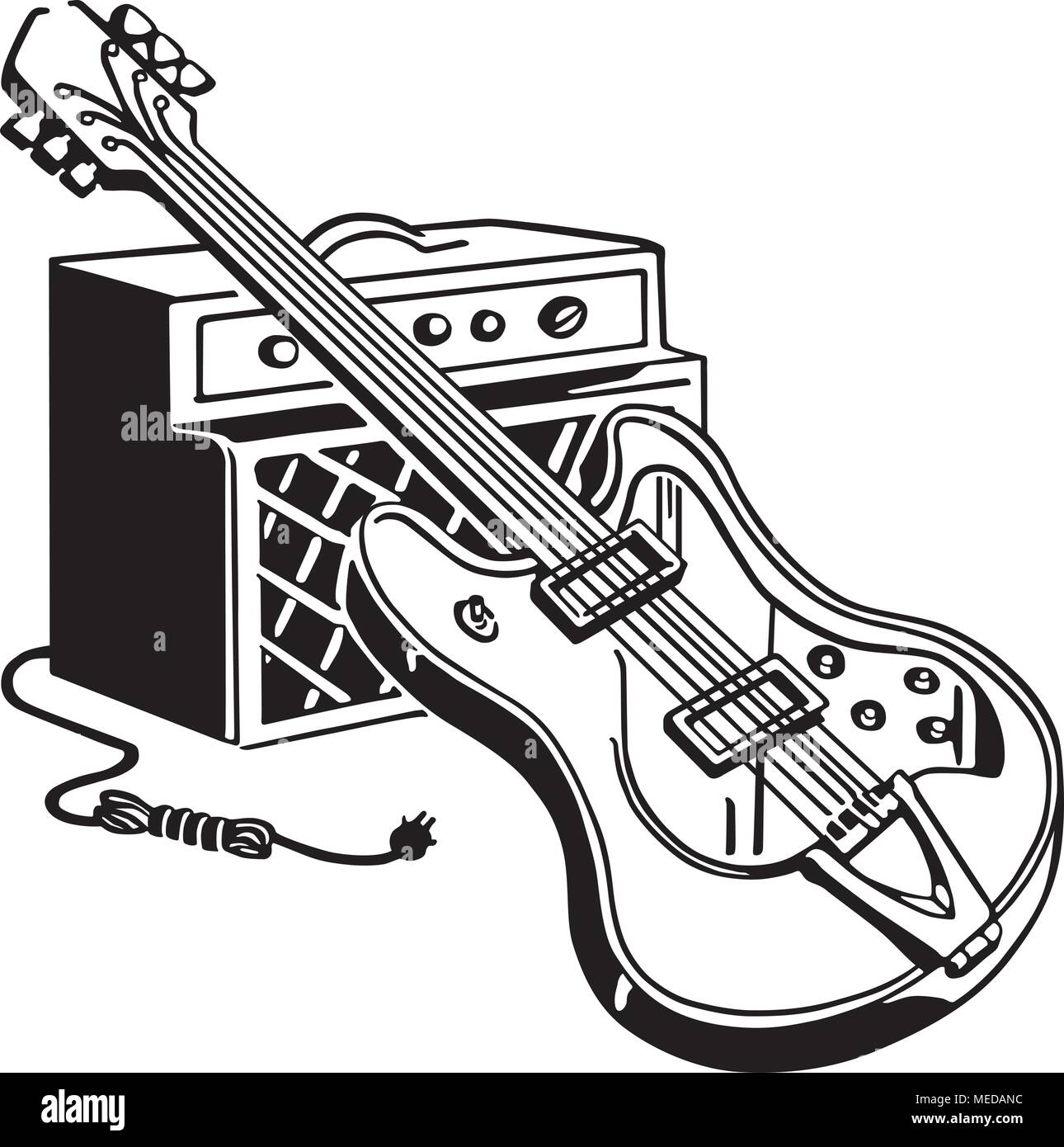 Electric Guitar And Amplifier Retro Clipart Illustration Stock