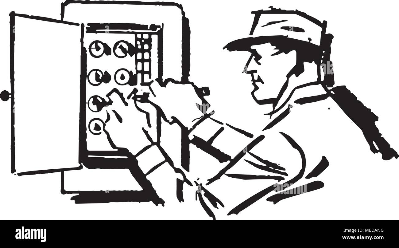 electrician at work retro clipart illustration stock vector art