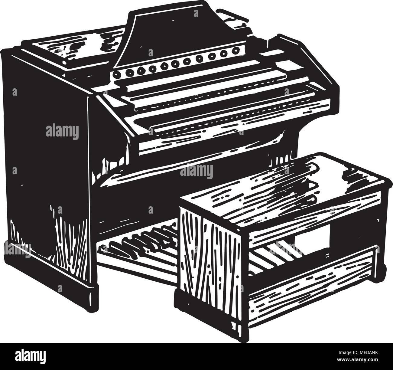 Electric Organ - Retro Clipart Illustration - Stock Image