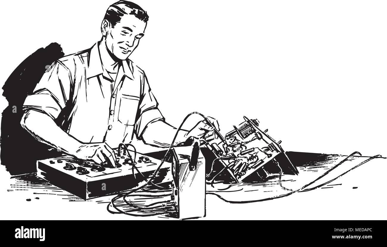 Electronics Technician - Retro Clipart Illustration - Stock Vector