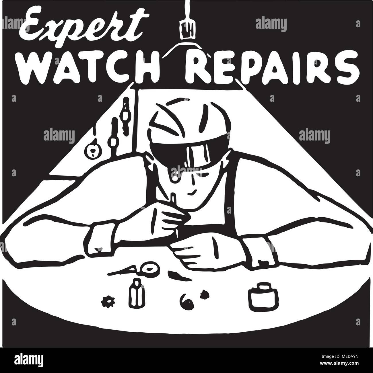Expert Watch Repairs - Retro Ad Art Banner - Stock Vector