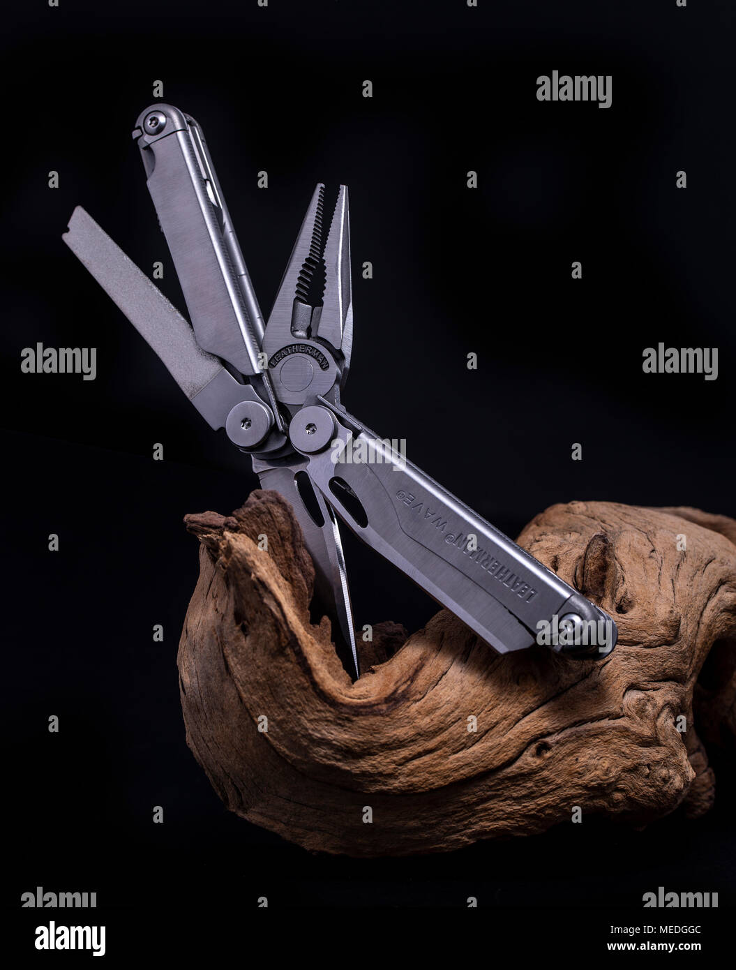 SWINDON, UK - APRIL 22, 2018: Leatherman Wave multitool on a black background - Stock Image