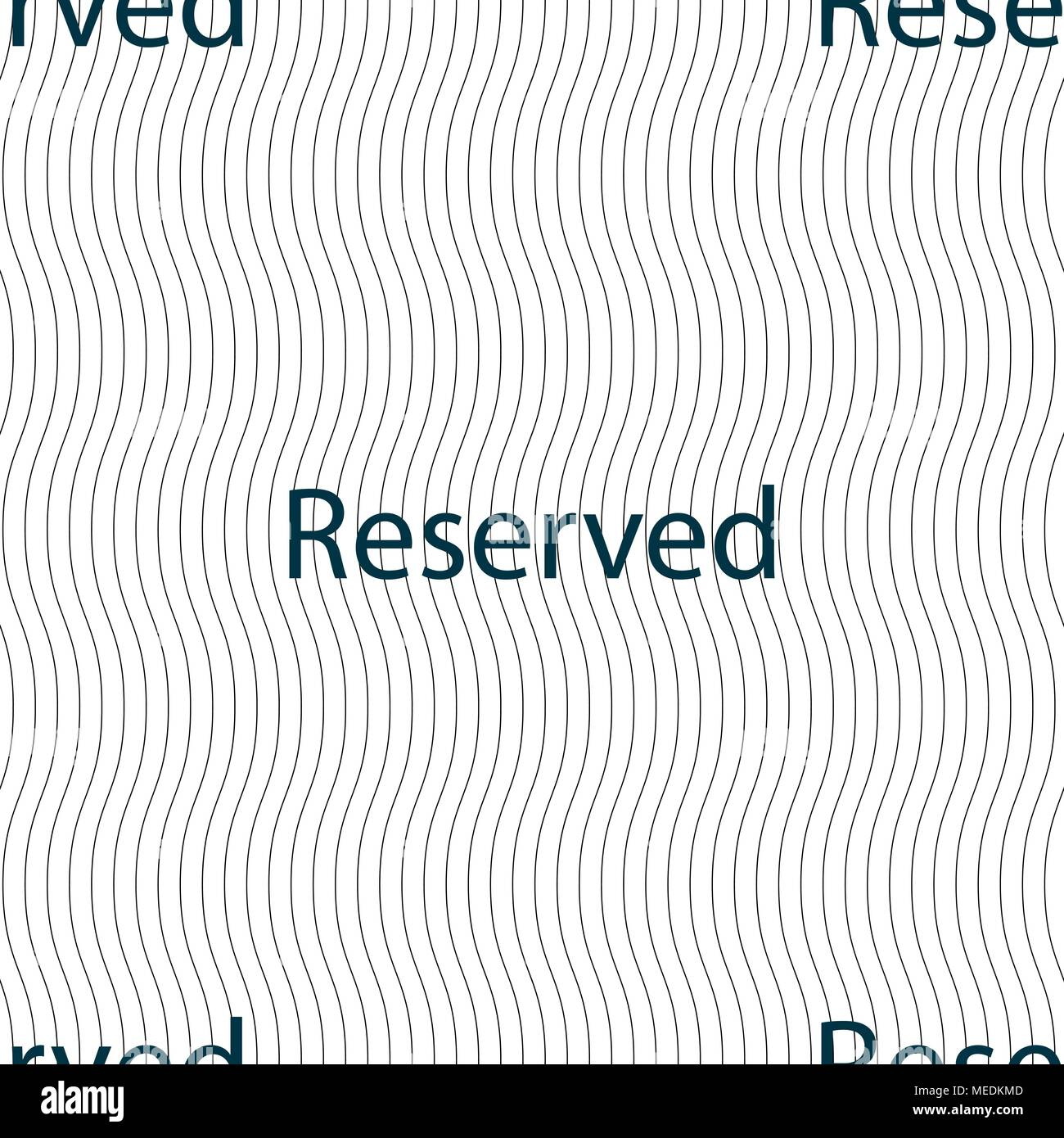Reserved sign icon. Seamless pattern with geometric texture. Vector illustration - Stock Image