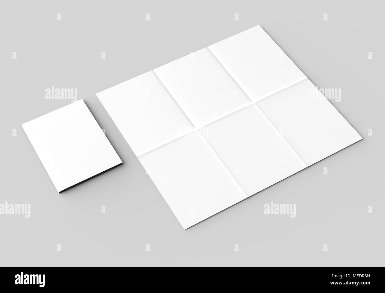12 page leaflet french fold vertical brochure mock up isolated on