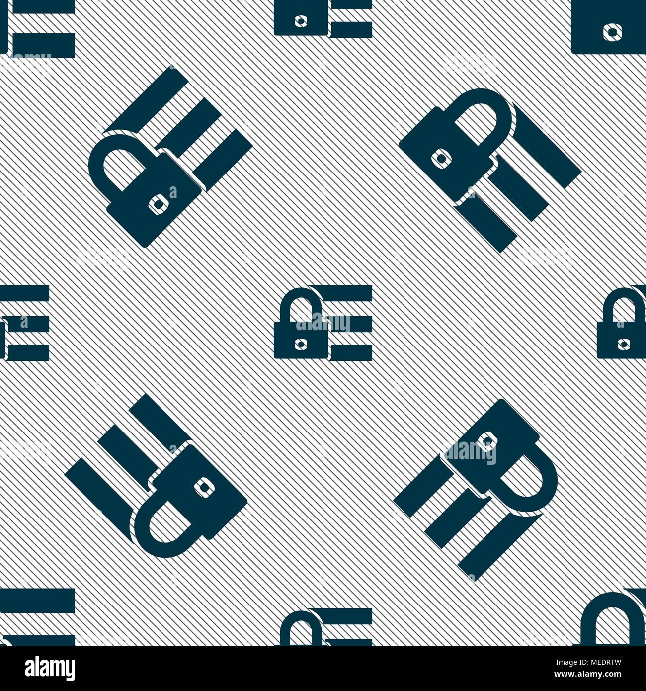 Lock, login icon sign  Seamless pattern with geometric