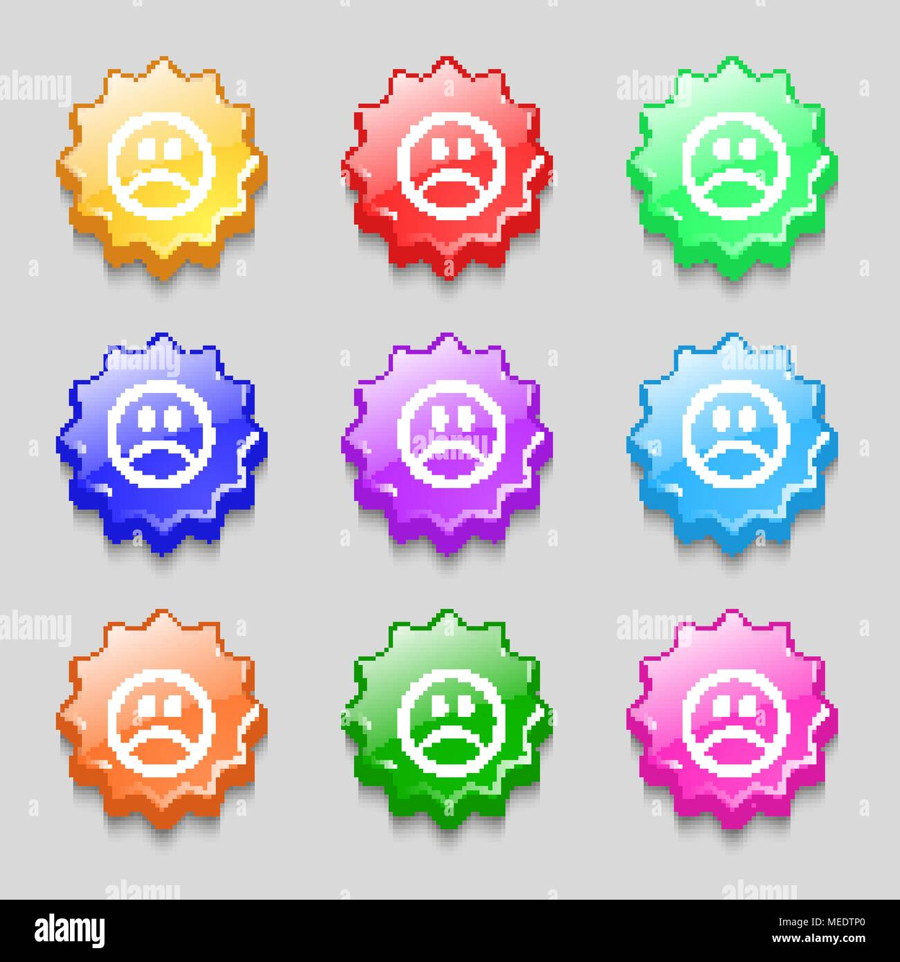 Sad face, Sadness depression icon sign. symbol on nine wavy colourful buttons. Vector illustration - Stock Vector