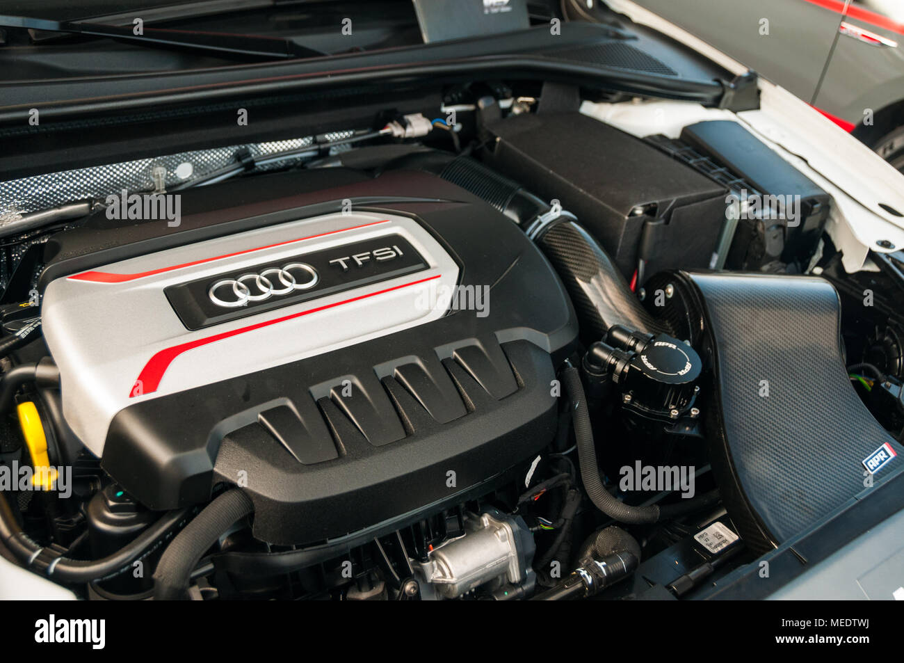 Tuned Audi TFSI engine as displayed by RPM Tuning at an Audi Sport event at the Shanghai International Circuit. - Stock Image