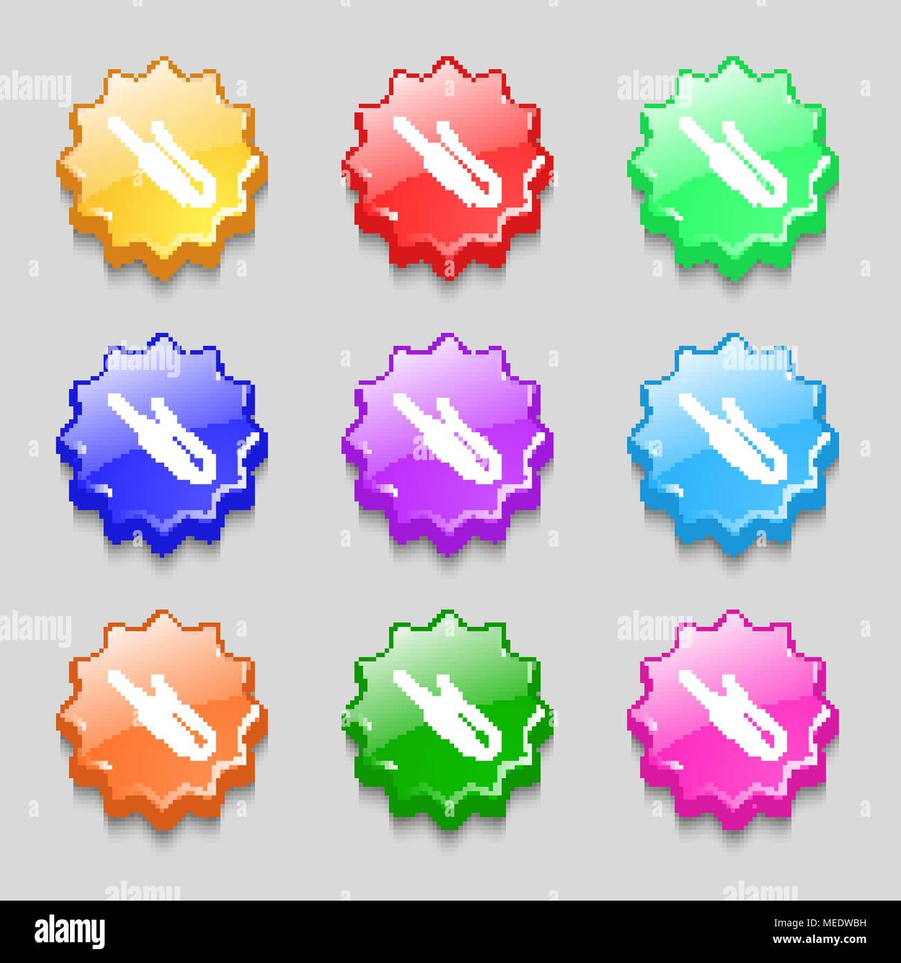 plug, mini jack icon sign. symbol on nine wavy colourful buttons. Vector illustration Stock Vector