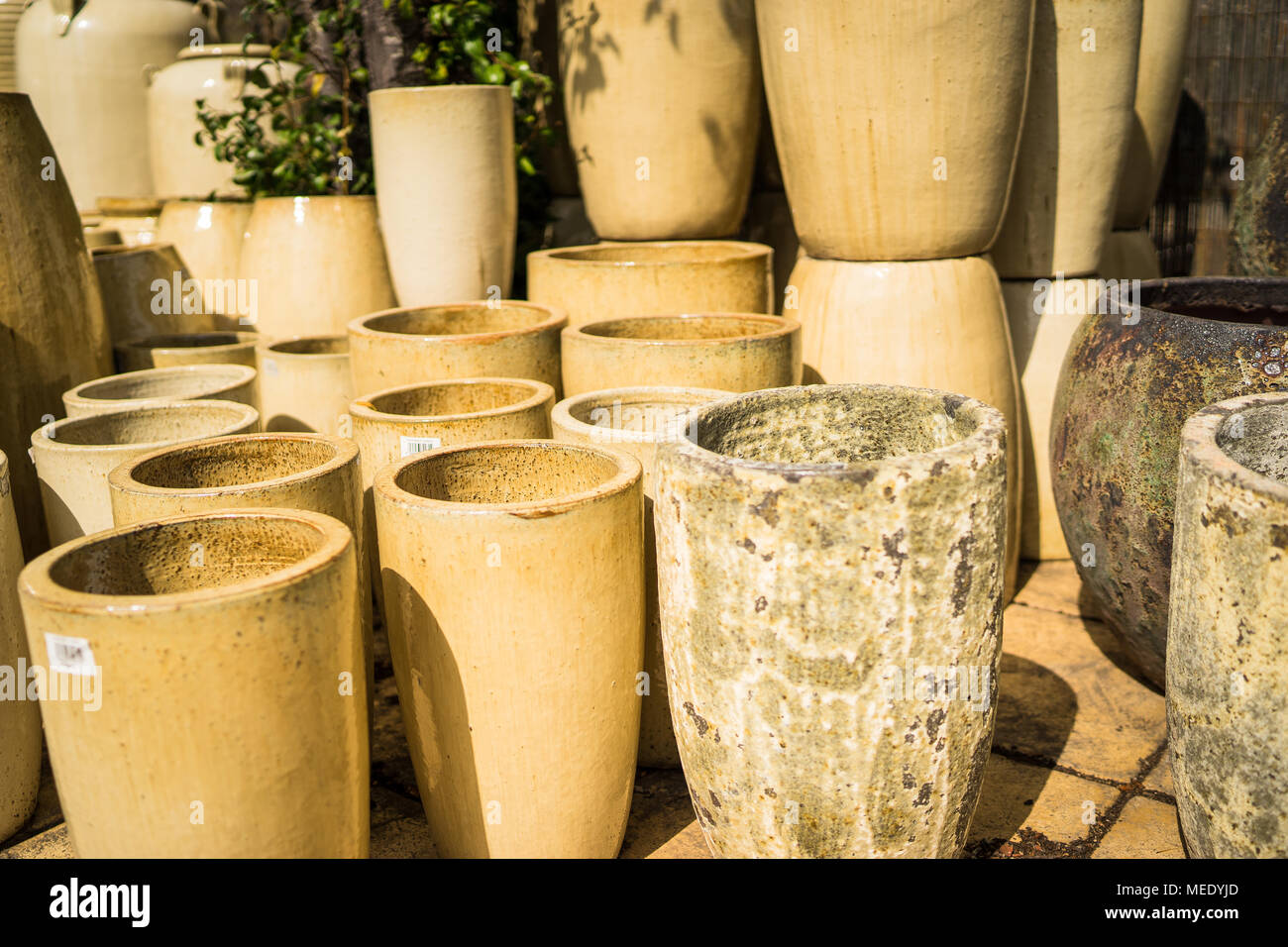 Large Ceramic Flower Pots Stacked At A Plant Nursery Stock Photo Alamy