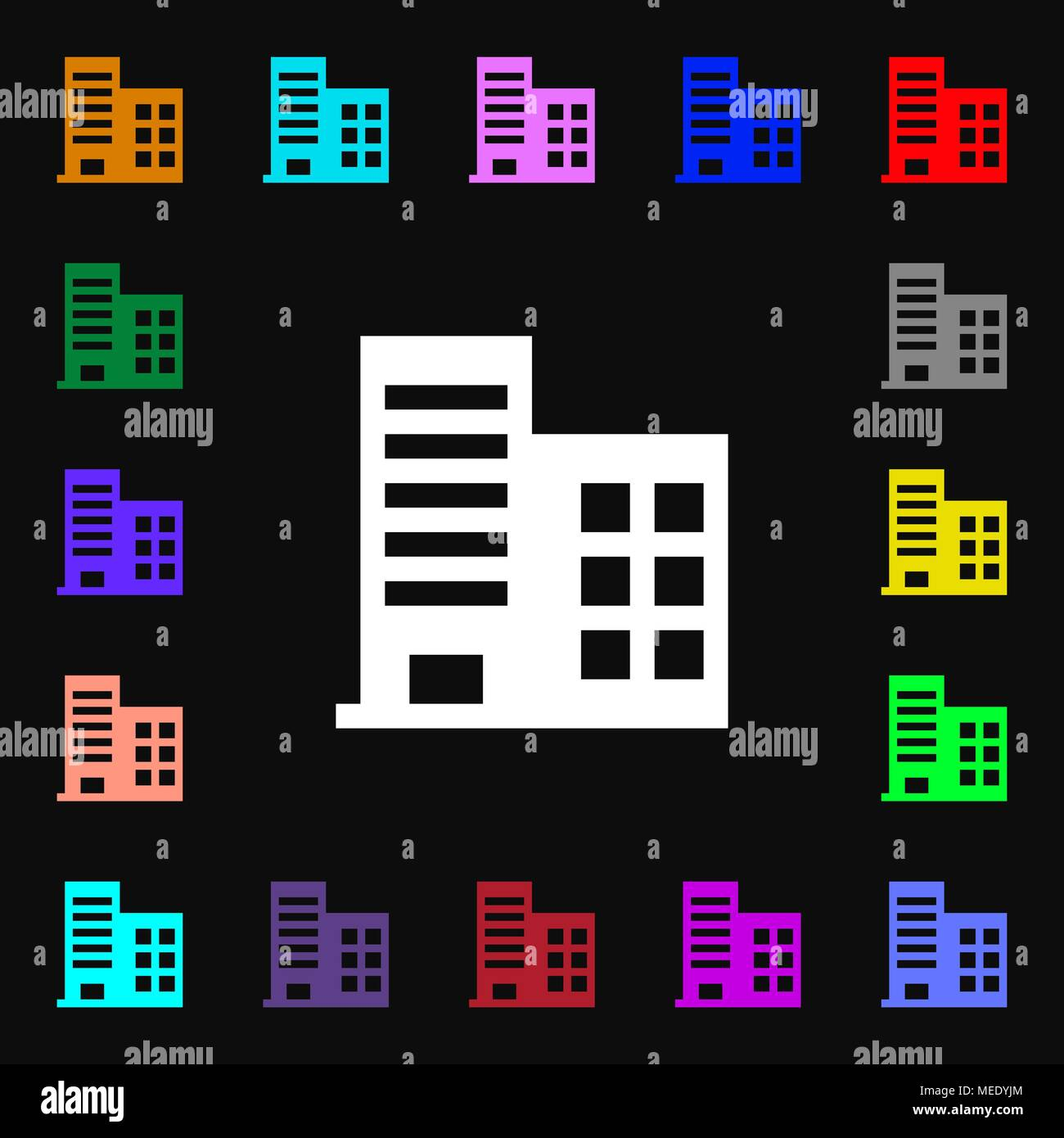 high-rise commercial buildings and residential apartments  icon sign. Lots of colorful symbols for your design. Vector illustration Stock Vector