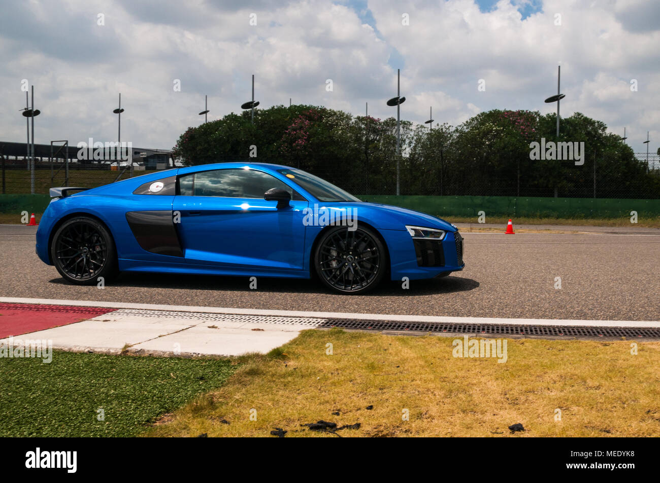 A Blue Audi R8 V10 Coupe Performance At An Audi Driving Experience Day Held  At The