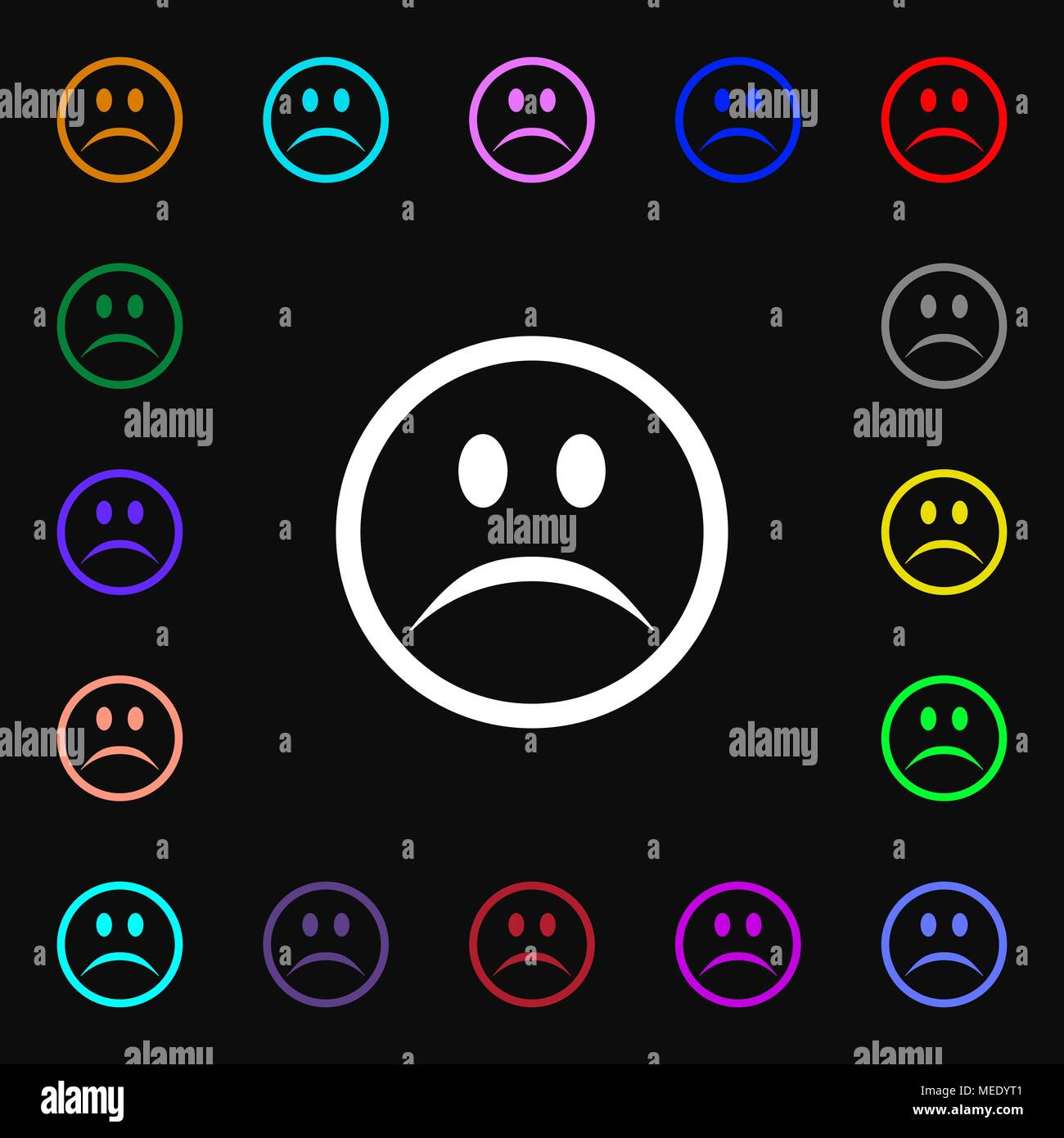 Sad face, Sadness depression  icon sign. Lots of colorful symbols for your design. Vector illustration - Stock Vector
