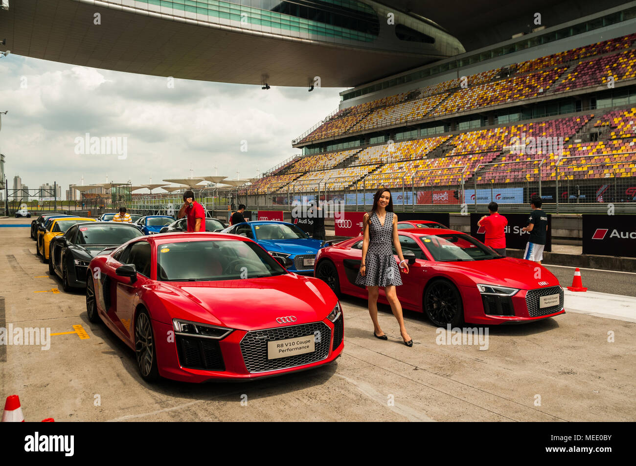 Line Up Of Audi R V Coupe Performance Cars On The Starting Grid - Audi performance cars