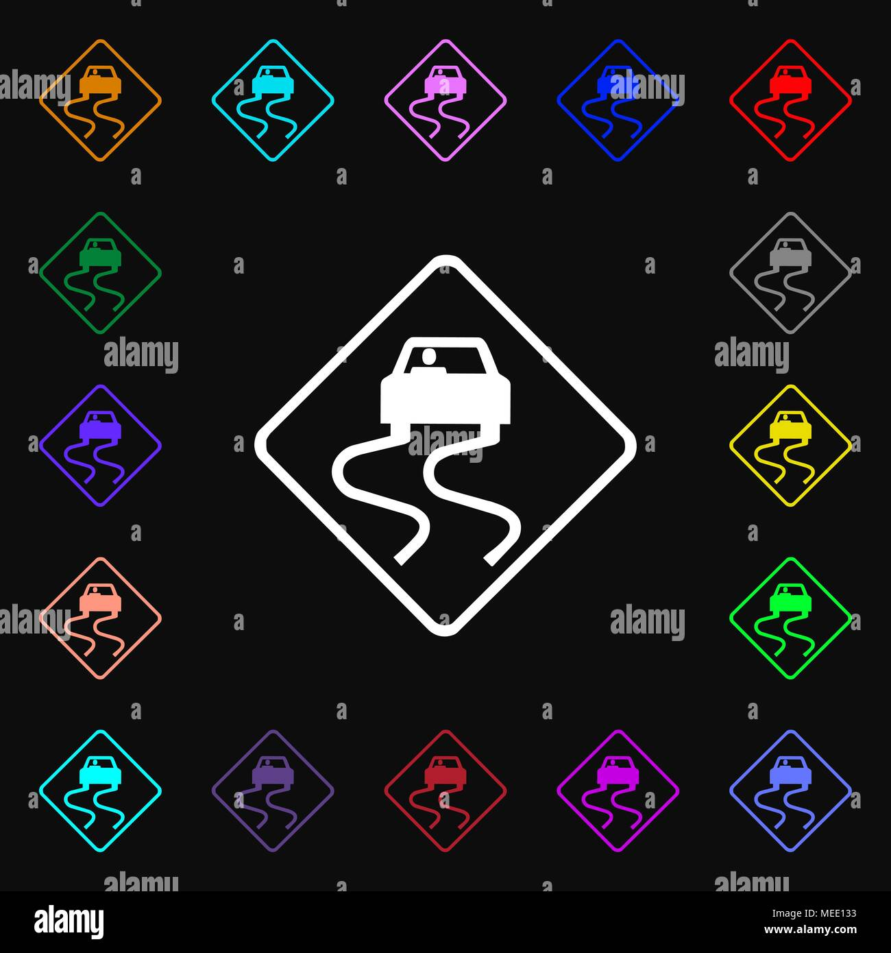 Road slippery icon sign. Lots of colorful symbols for your design. Vector illustration - Stock Image