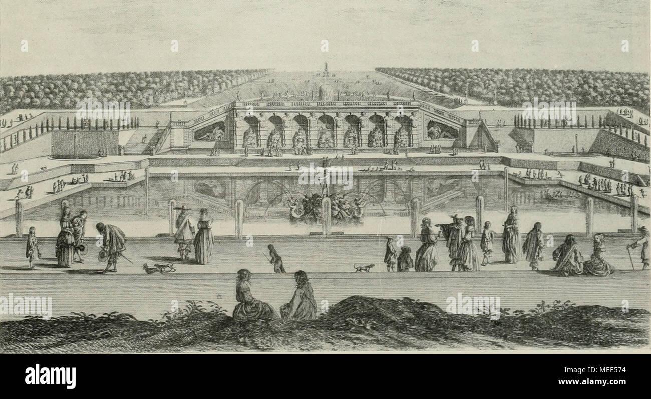. Die Gartenkunst . Abb. 13. Vaux le Vicomte. Das große Neptunbassin mit den Wasserkünsten, nach einem alten Stich aus der Bibliothek des Kgl. Gewerbemuseums in Berlin. Stock Photo