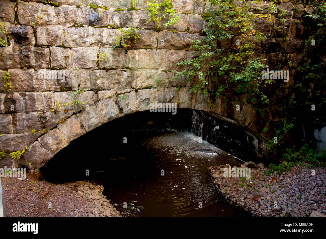 Old stone bridge coverd with moss and torrential river - Stock Image