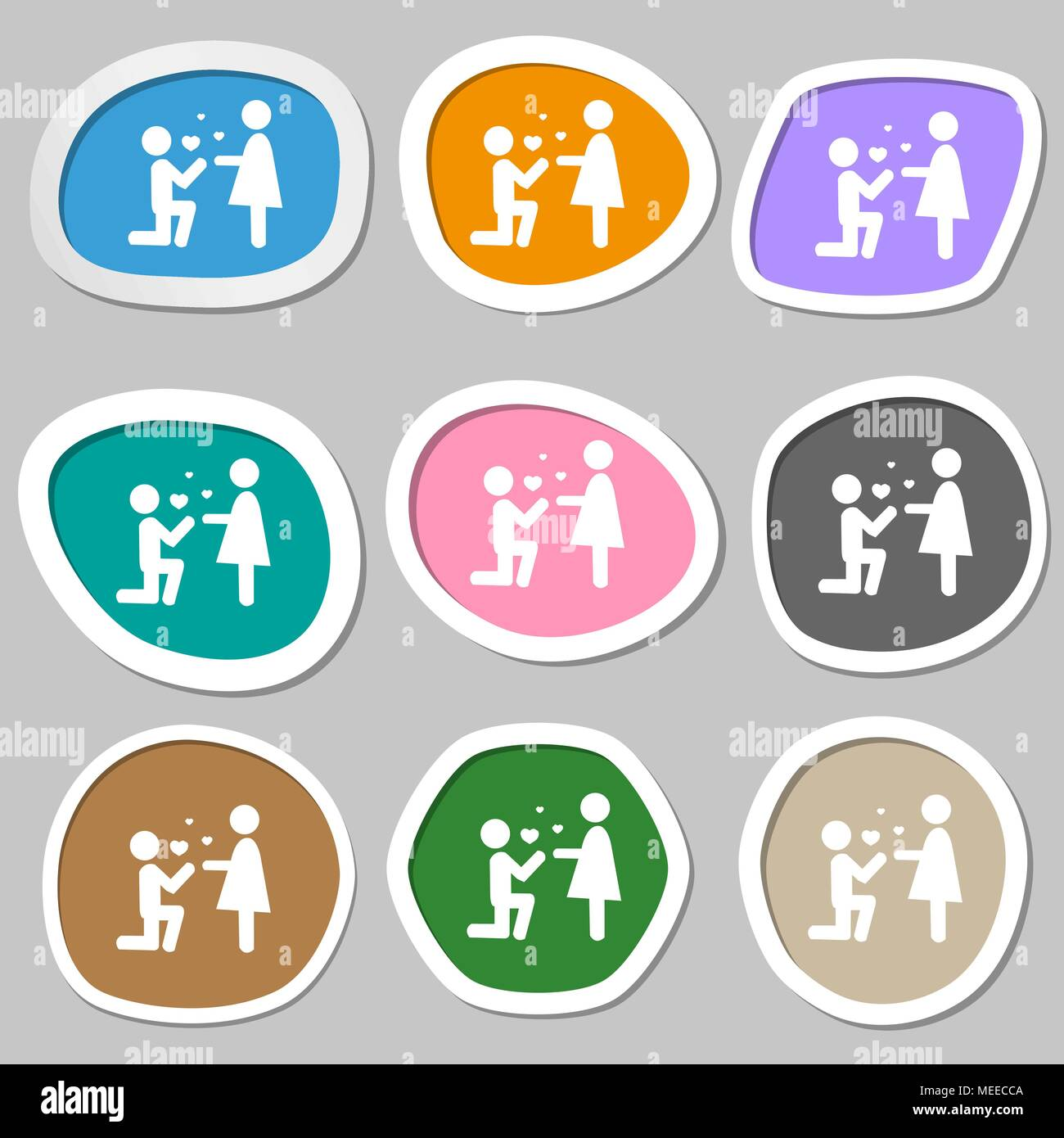 an offer of marriage symbols multicolored paper stickers vector