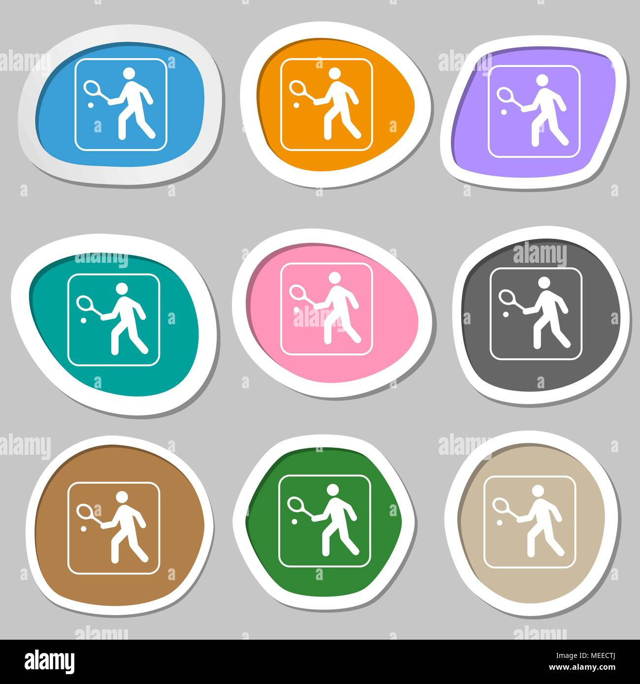 Tennis player symbols. Multicolored paper stickers. Vector illustration - Stock Image