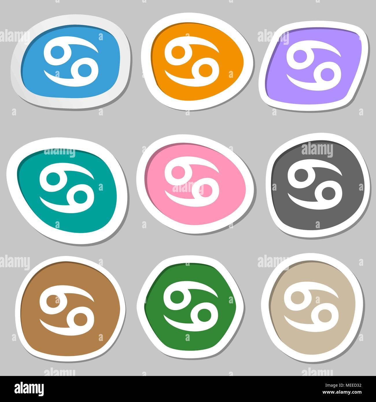 Zodiac Cancer Symbols Multicolored Paper Stock Photos Zodiac