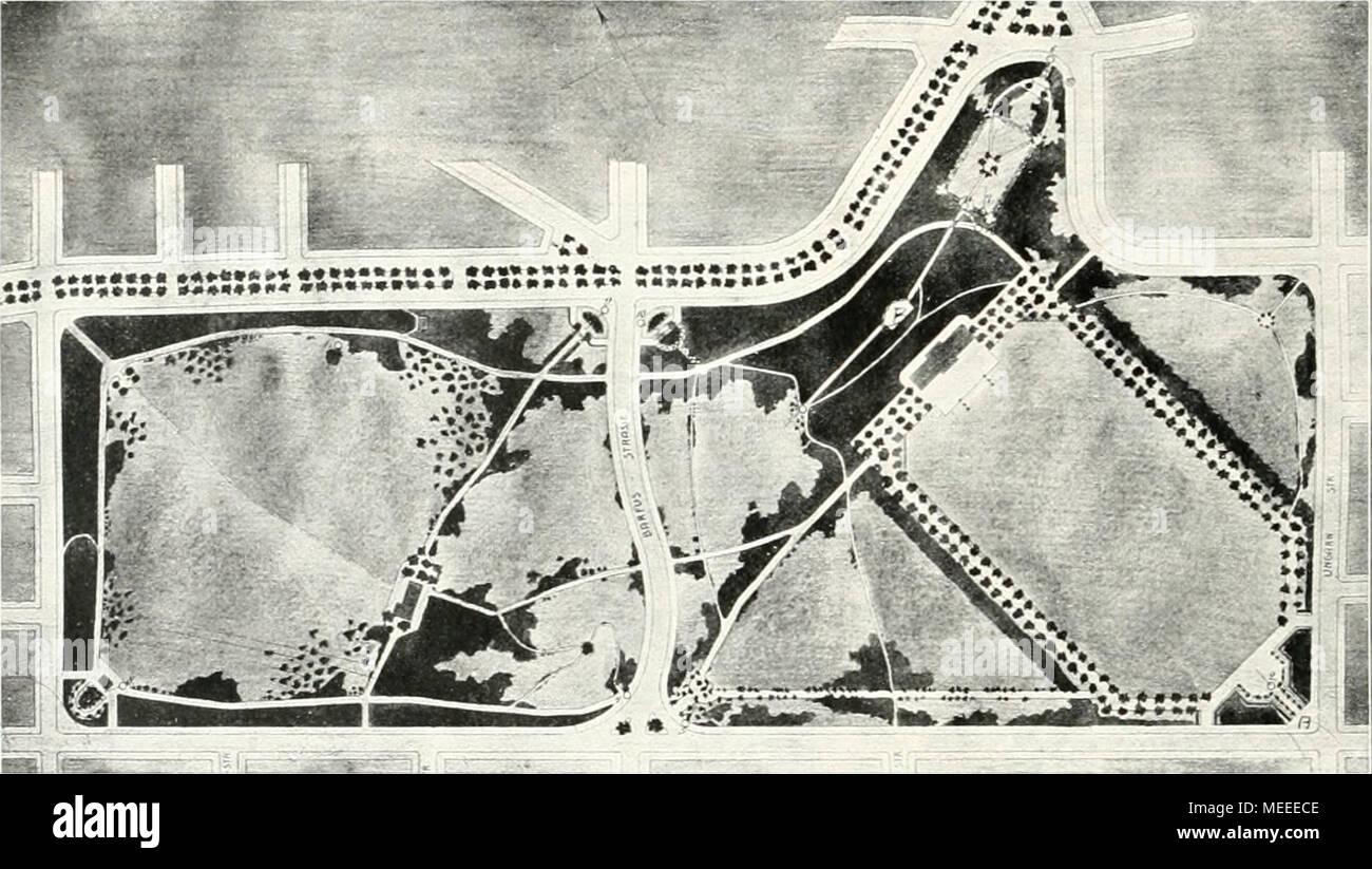 . Die Gartenkunst . Wettbewerbsentwurf für den Schillerpark zu Berlin von W. Petznick und J. Schneider, Mafistab ca. 1 : 7500. man den Eindruck eines terrassierten Rosenhanges bekommt. Im Süden ist dieser Teil abgeschlossen durch das Uhrhaus, dem sich seitlich Unterstandshallen anschließen (s. Bild Seite 125). Östlich vom Spielplatz liegt der Rosengarten, seitlich durch Hecken von der übrigen Wildnis ab- geschlossen. An Straße 37 überwindet man den Hügel durch eine Treppe (s. Bild Seite 125). Für die Barfußstraße, die durchschnittlich 2 m tief das Terrain durchschneidet, wird eine mehr dem Ge- Stock Photo