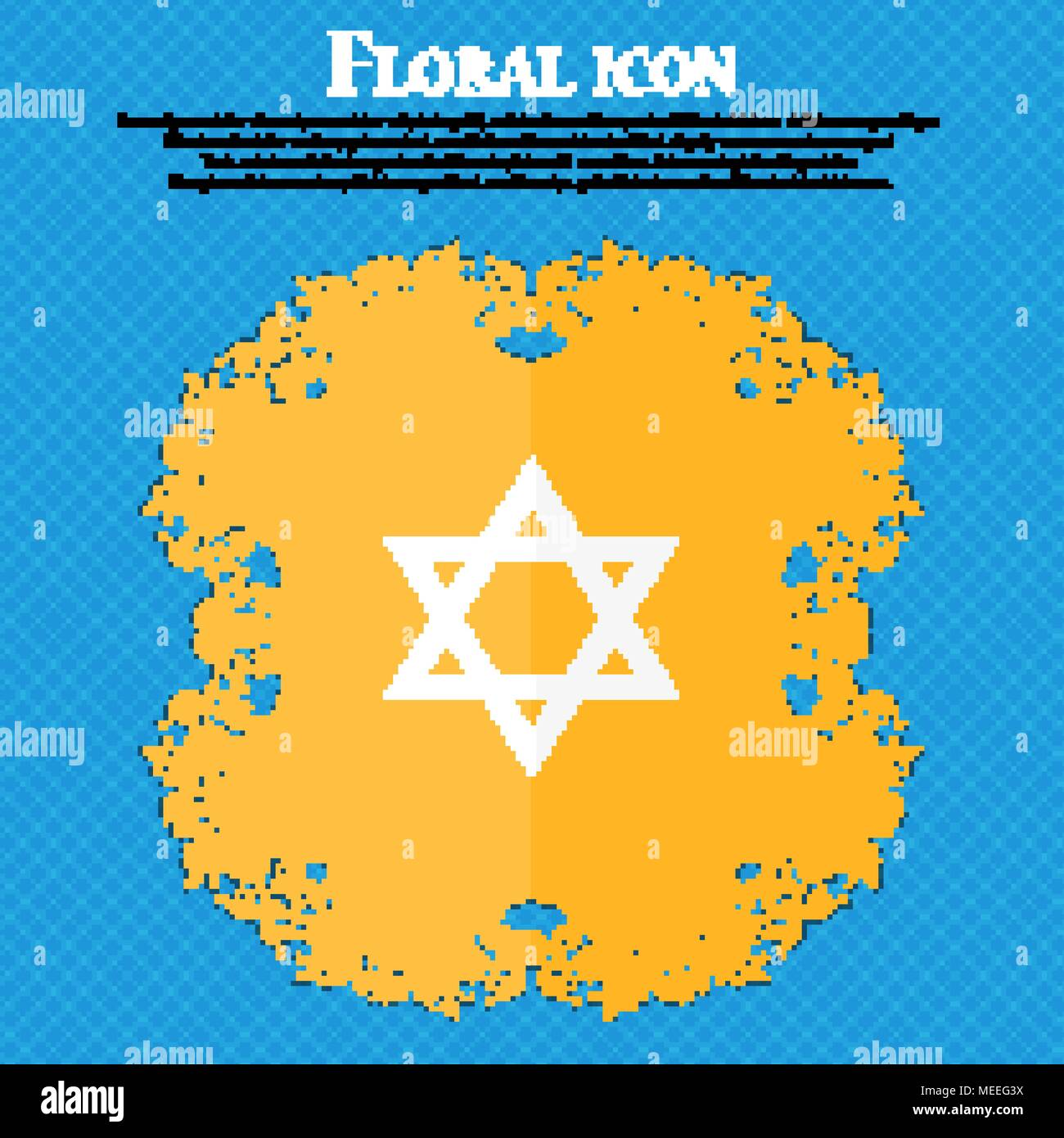 pentagram icon. Floral flat design on a blue abstract background with place for your text. Vector illustration - Stock Vector