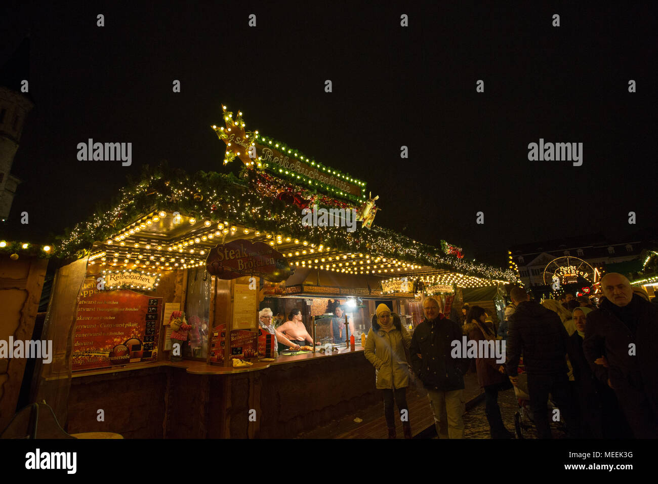 Traditional Christmas Market or Weihnachtsmarkt at Bonn, North Rhine Westphalia, Germany. Stock Photo