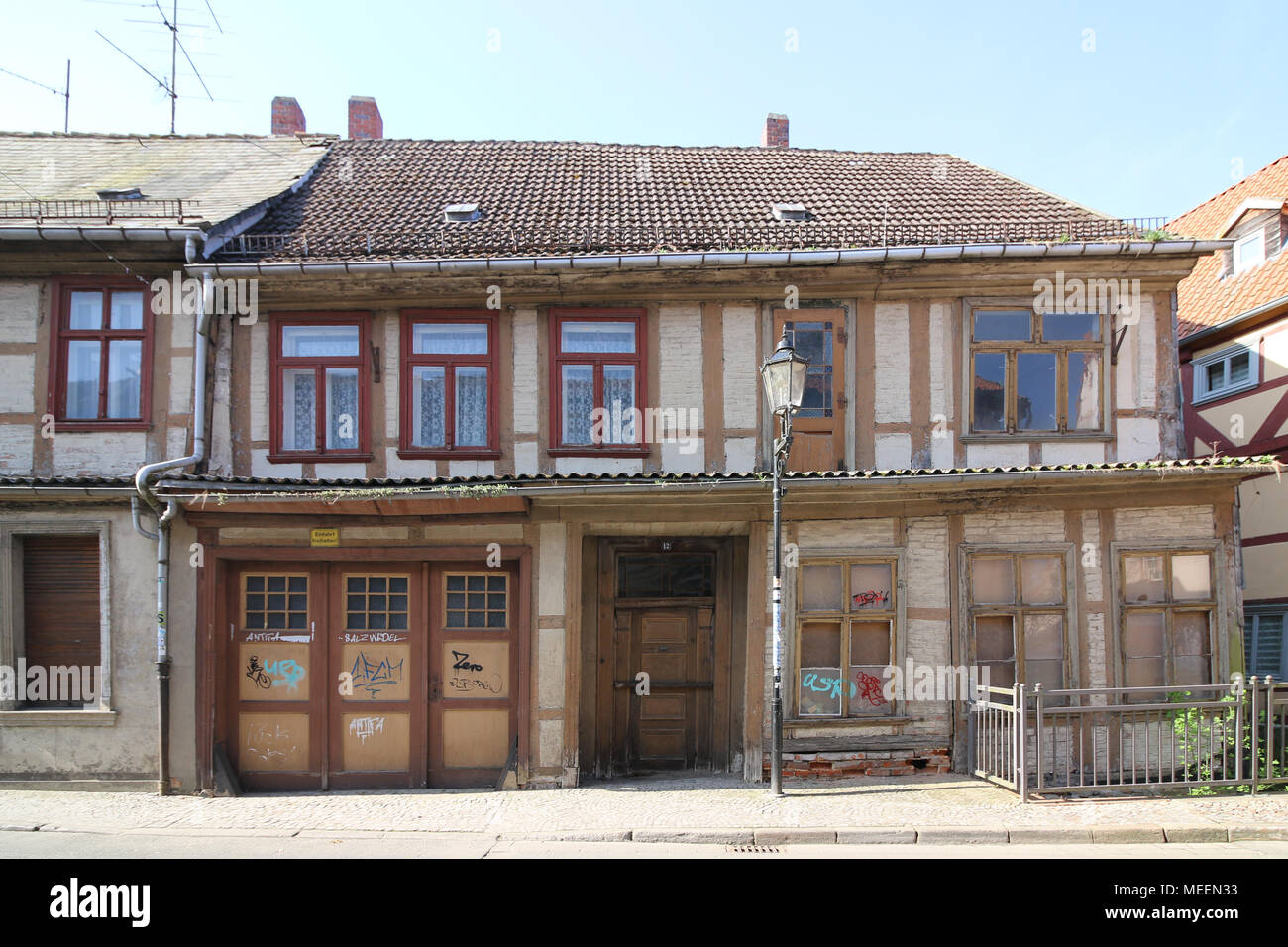 Salzwedel, Germany - April 21, 2018: View of a dilapidated half-timbered house in the Hanseatic city of Salzwedel, Germany. Stock Photo