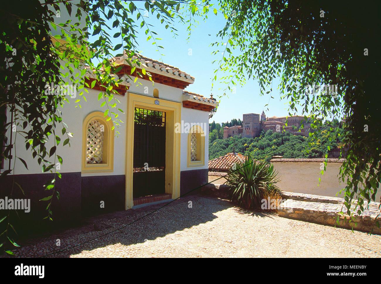La Alhambra viewed from The Albayzin. Granada, Spain. - Stock Image