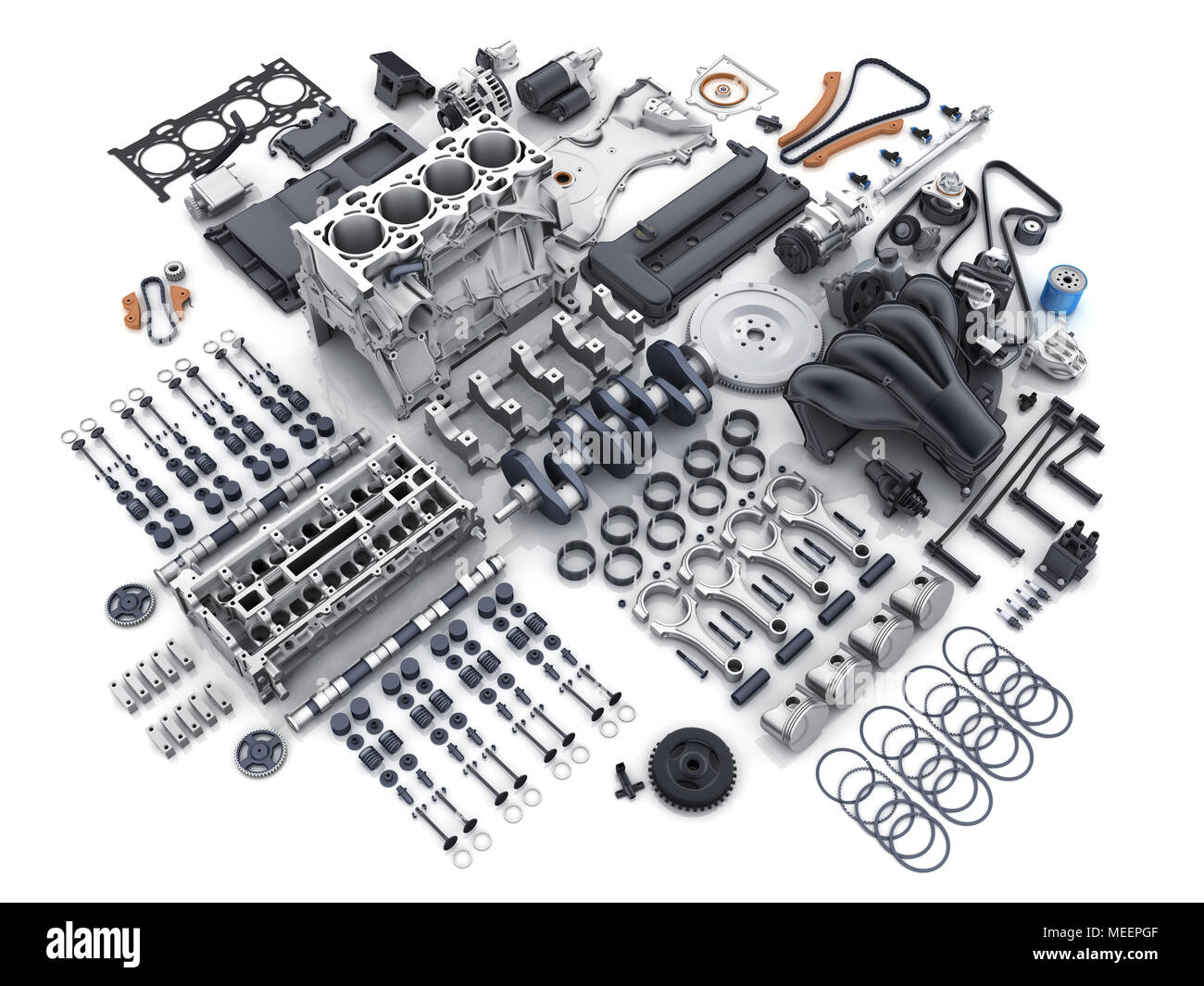 Car engine disassembled. Many parts on white background. 3d ...