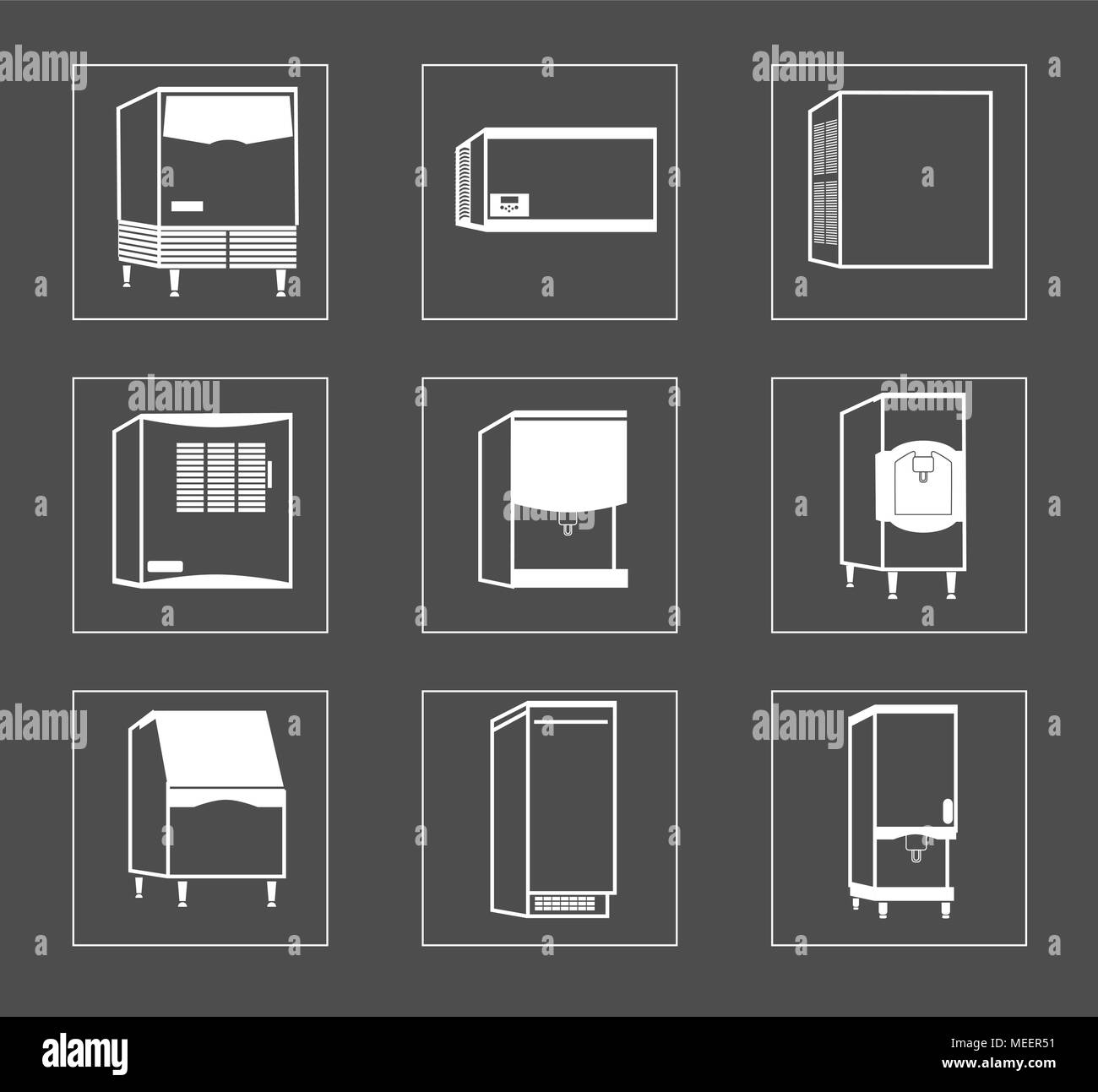 Simple Set of Fridge Related Vector Line Icons. - Stock Image