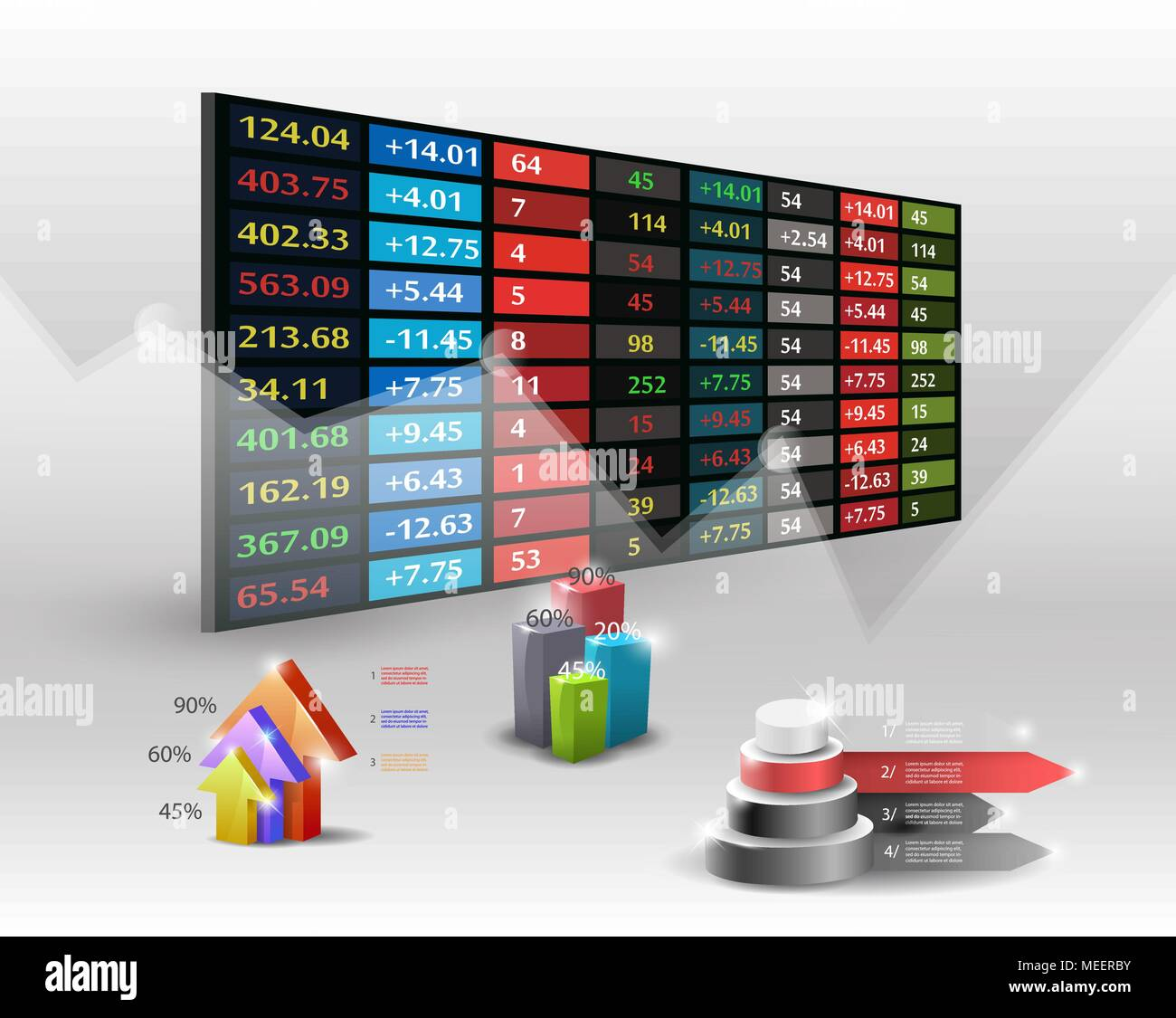 stock market price display background.Hand searching business. - Stock Vector