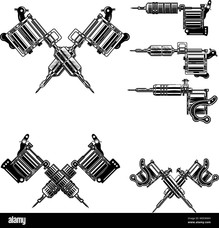 Set Of Tattoo Machine Illustrations Design Elements For Tattoo