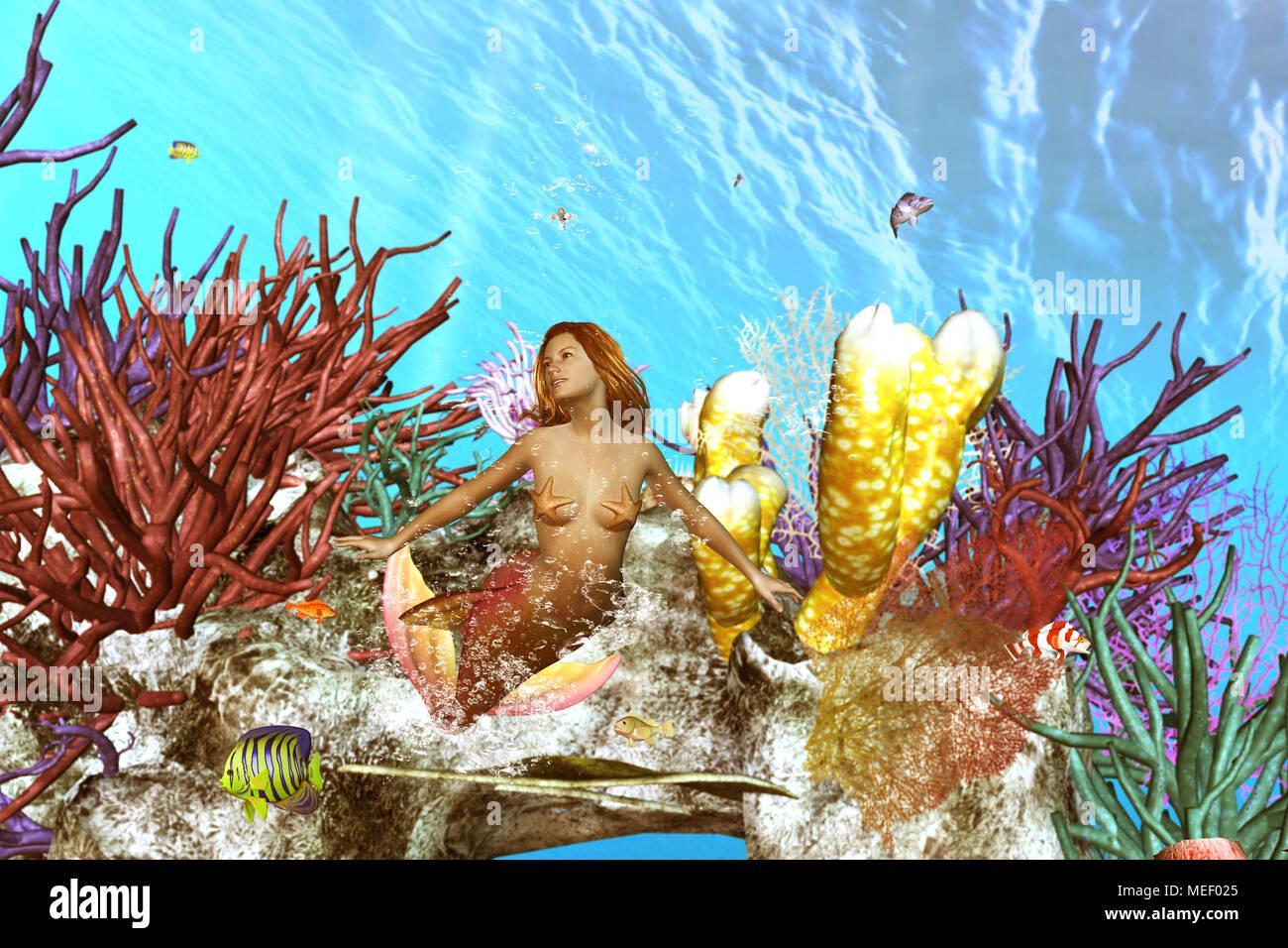 3d illustration of  underwater scene with mermaid ,3d fantasy art for book cover,book illustration - Stock Image