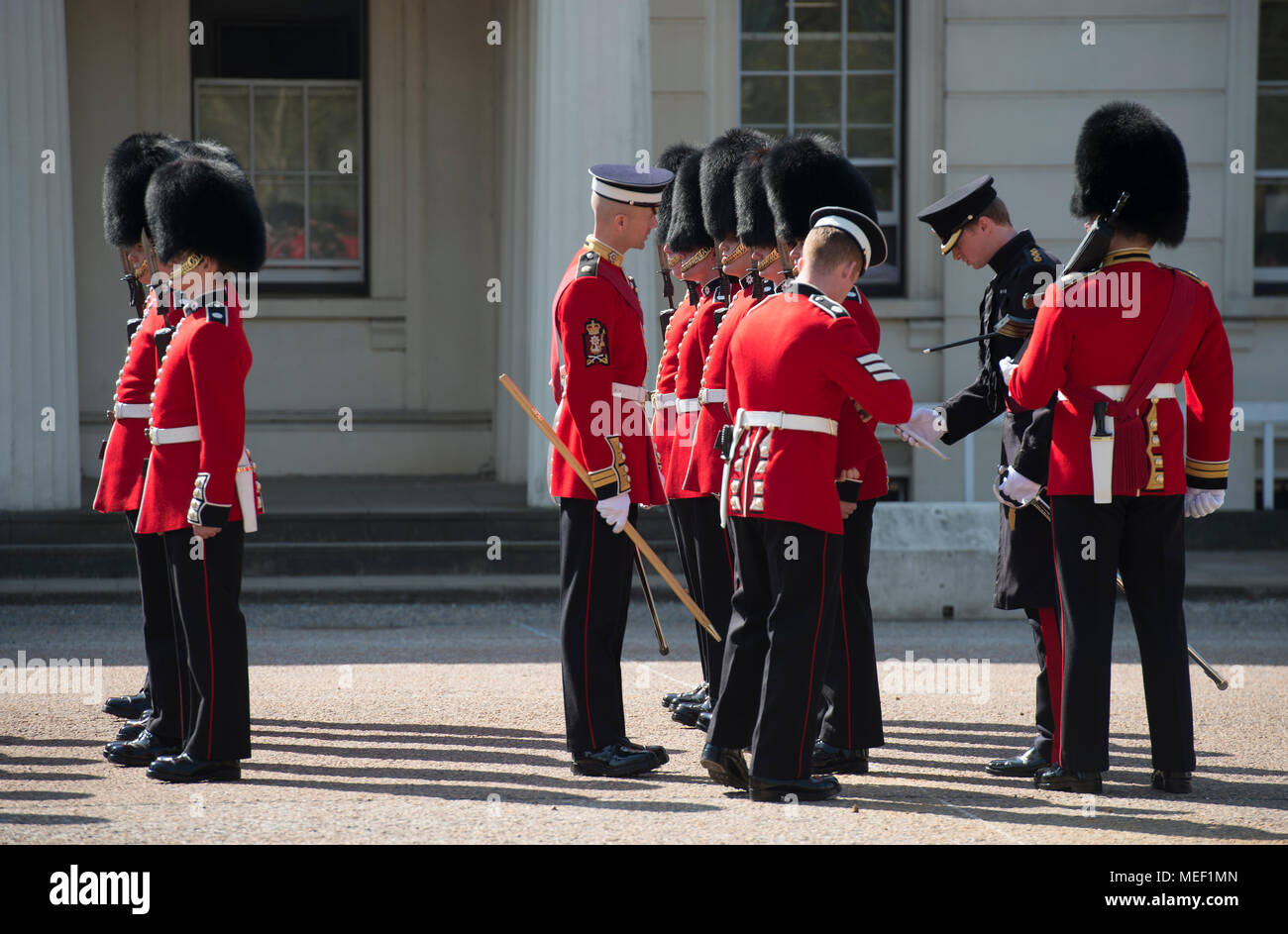 Daily inspection of Guardsmen at Wellington Barracks parade ground before Changing the Guard at Buckingham Palace, London, 20 April, 2018. - Stock Image